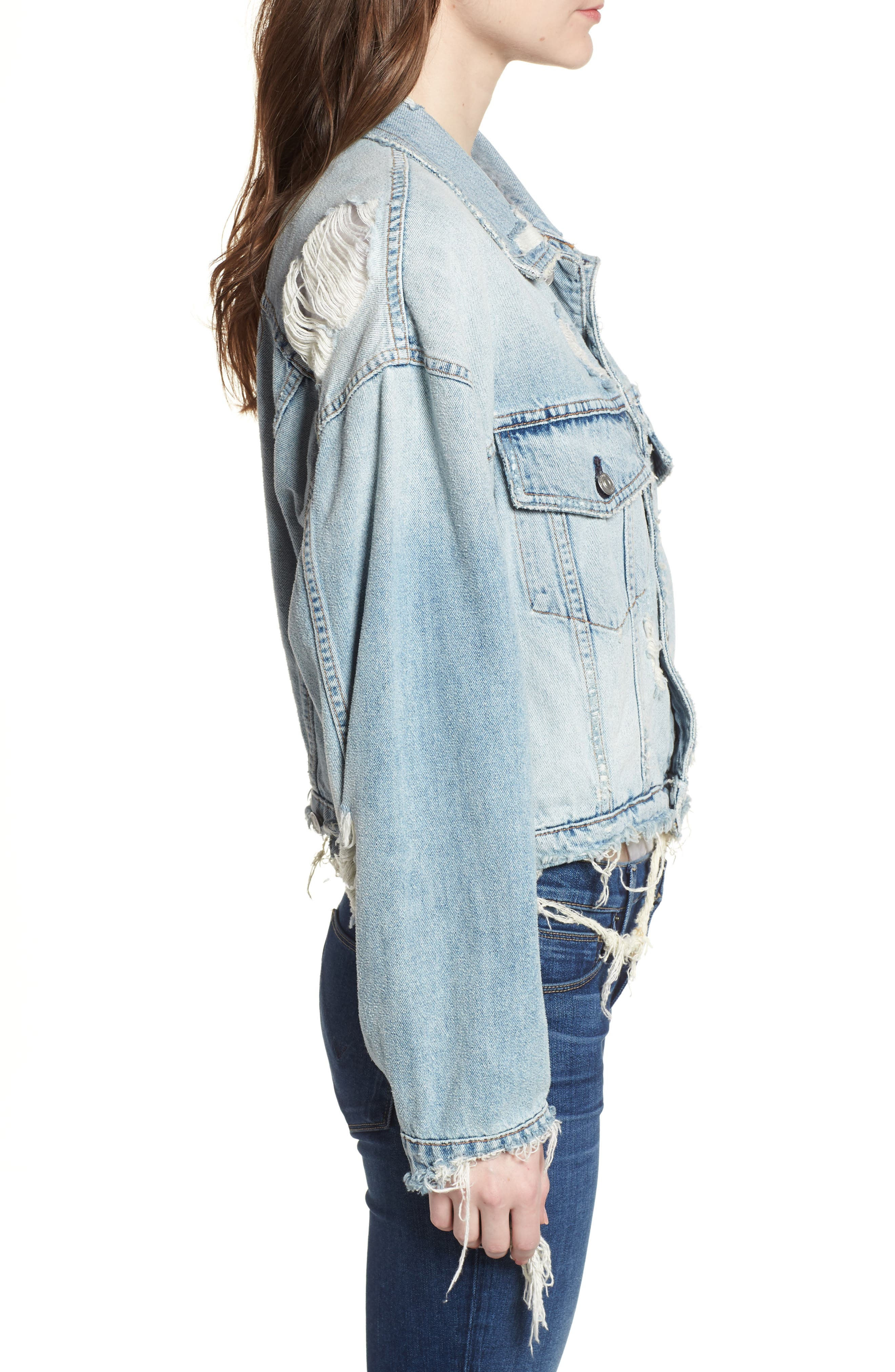 Rei Distressed Crop Denim Jacket,                             Alternate thumbnail 3, color,                             High And Dry