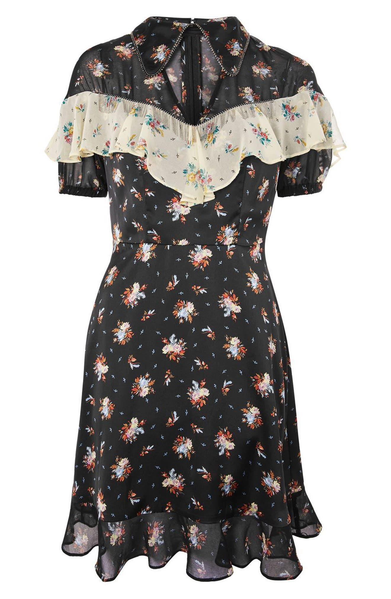 Rodeo Frill Western Skater Dress,                             Alternate thumbnail 4, color,                             Black Multi