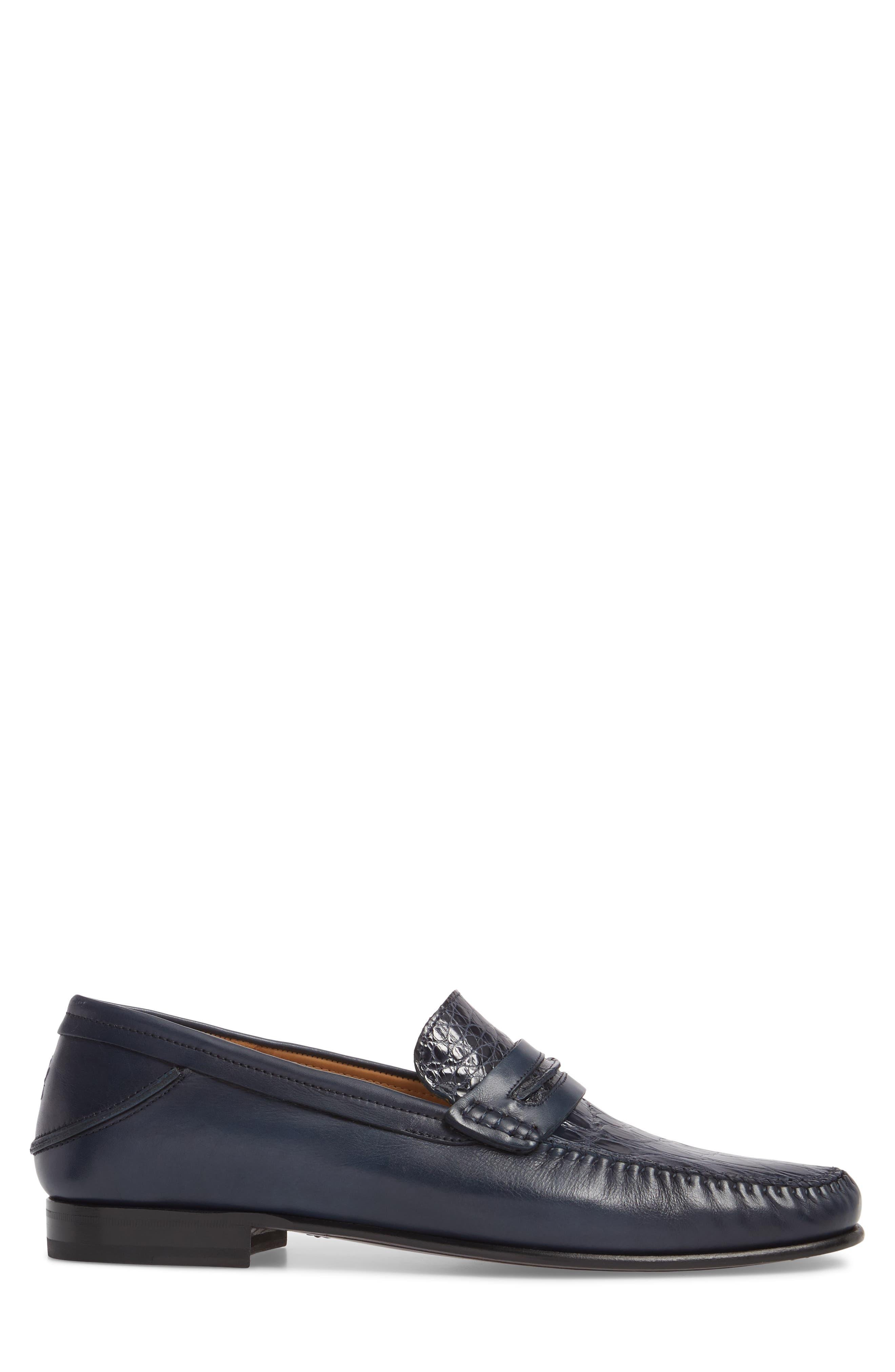 Kronos Moc Toe Penny Loafer,                             Alternate thumbnail 3, color,                             Blue Leather