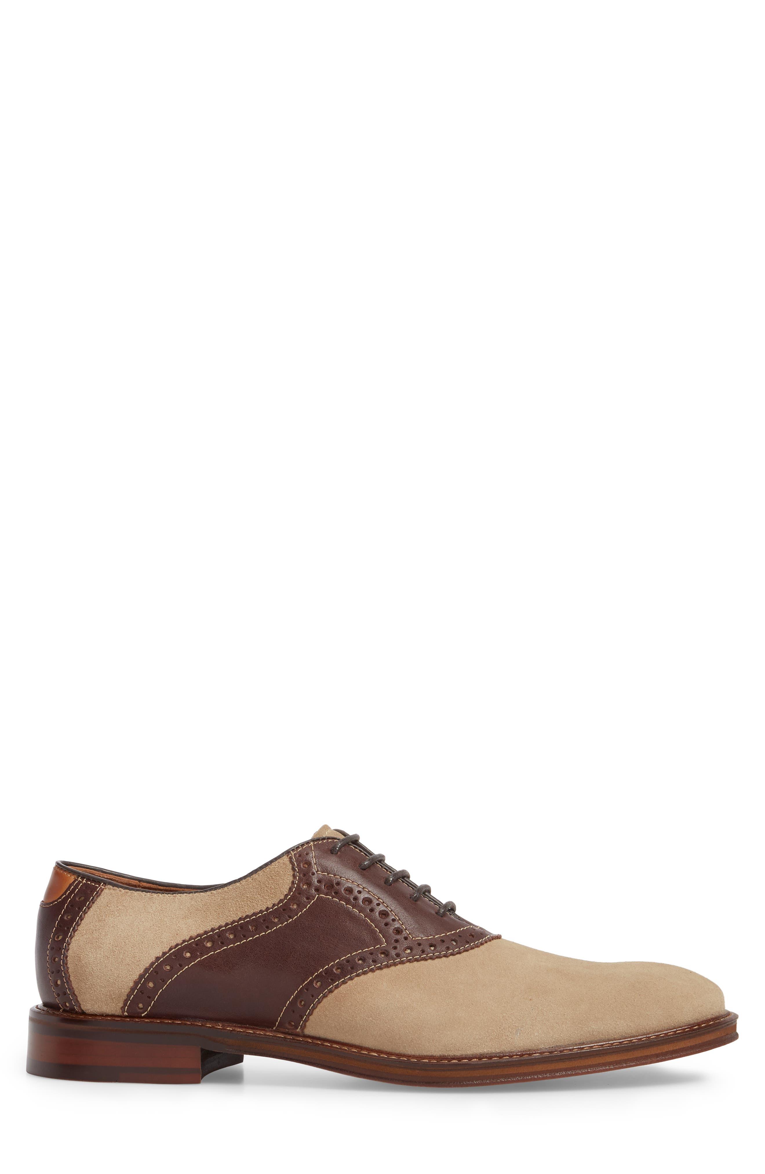 Warner Saddle Shoe,                             Alternate thumbnail 3, color,                             Camel Nubuck