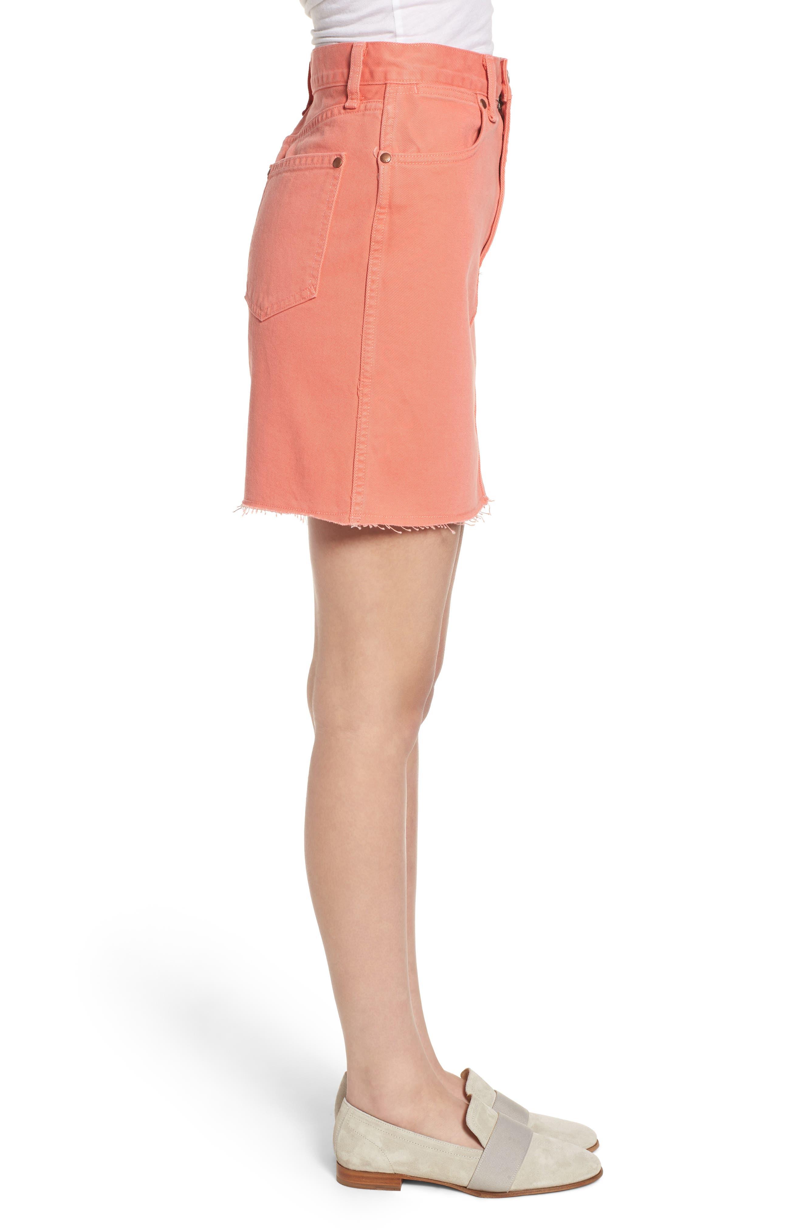 Moss High Waist Denim Miniskirt,                             Alternate thumbnail 3, color,                             Coral Haze