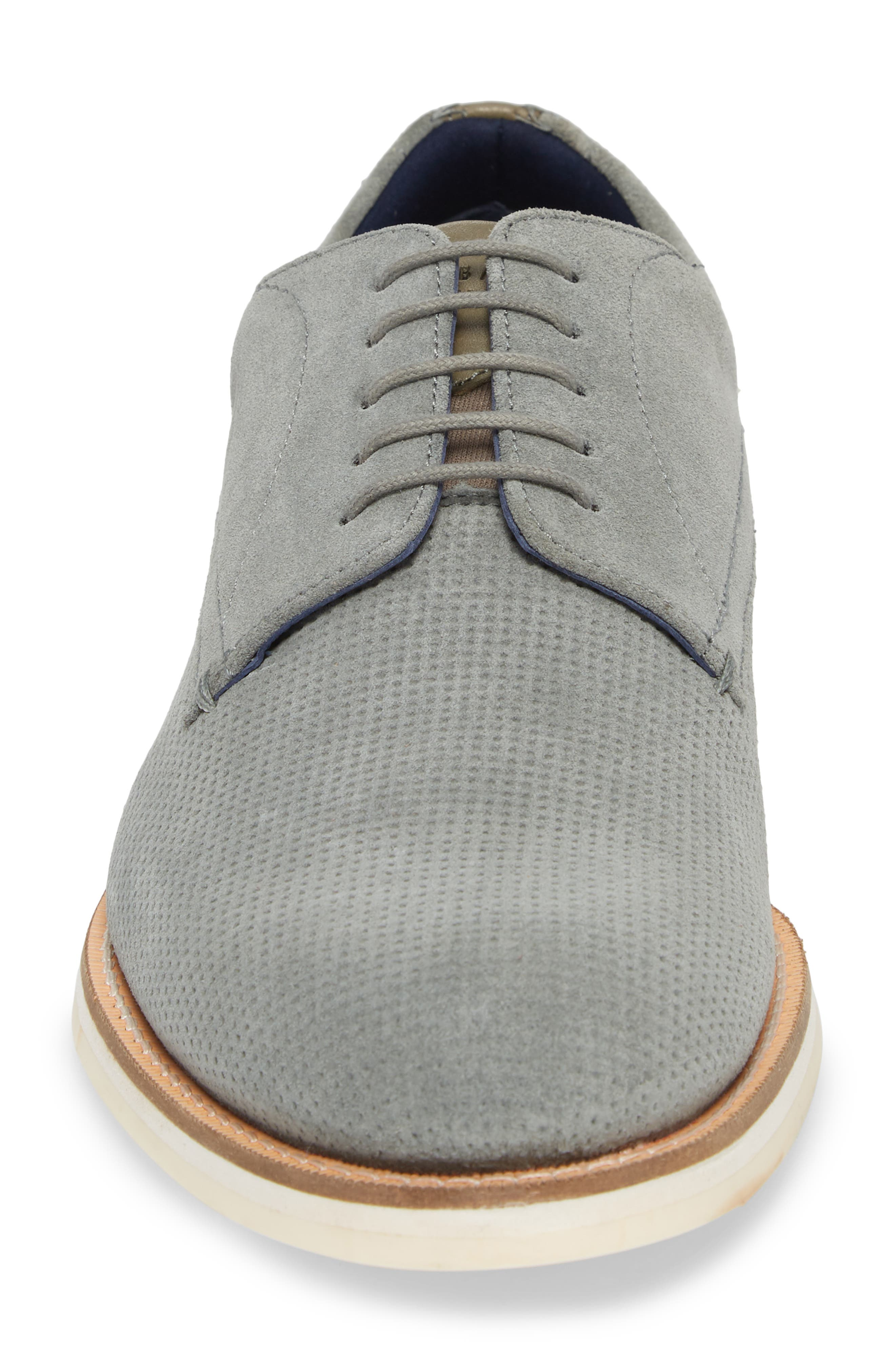 Lapiin Embossed Plain Toe Derby,                             Alternate thumbnail 4, color,                             Grey Suede