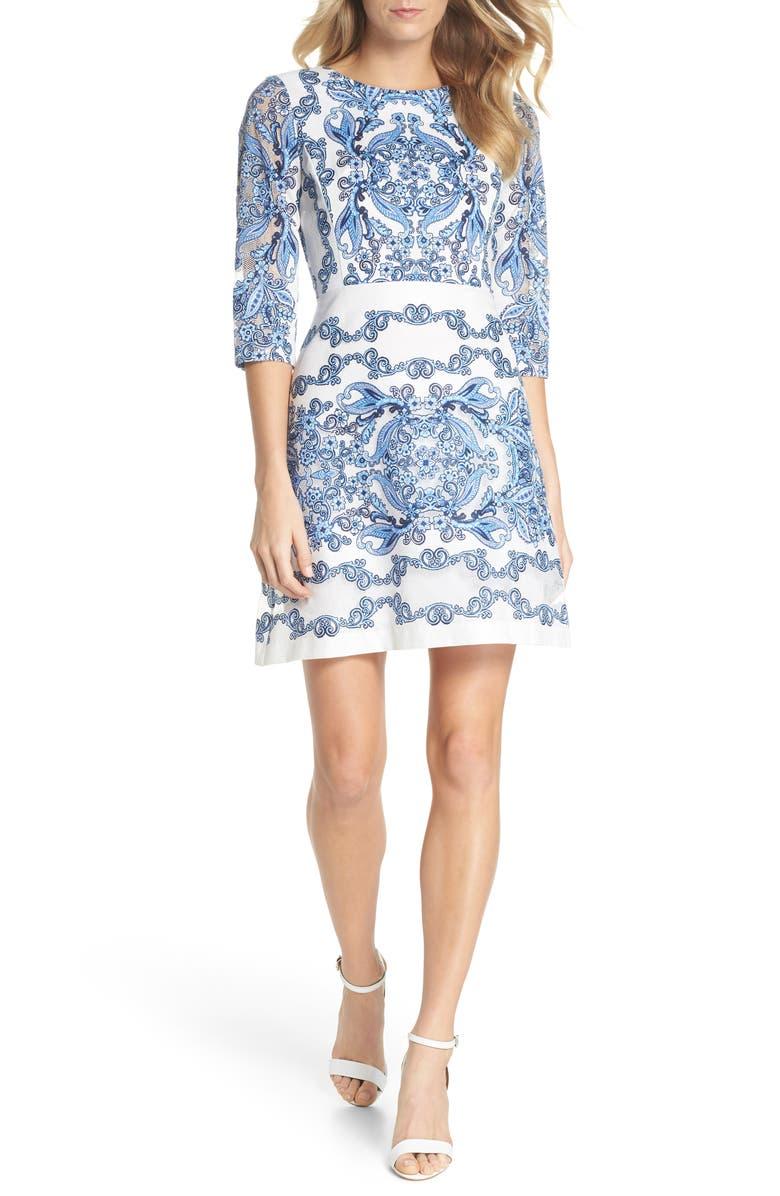Print Lace A-Line Dress