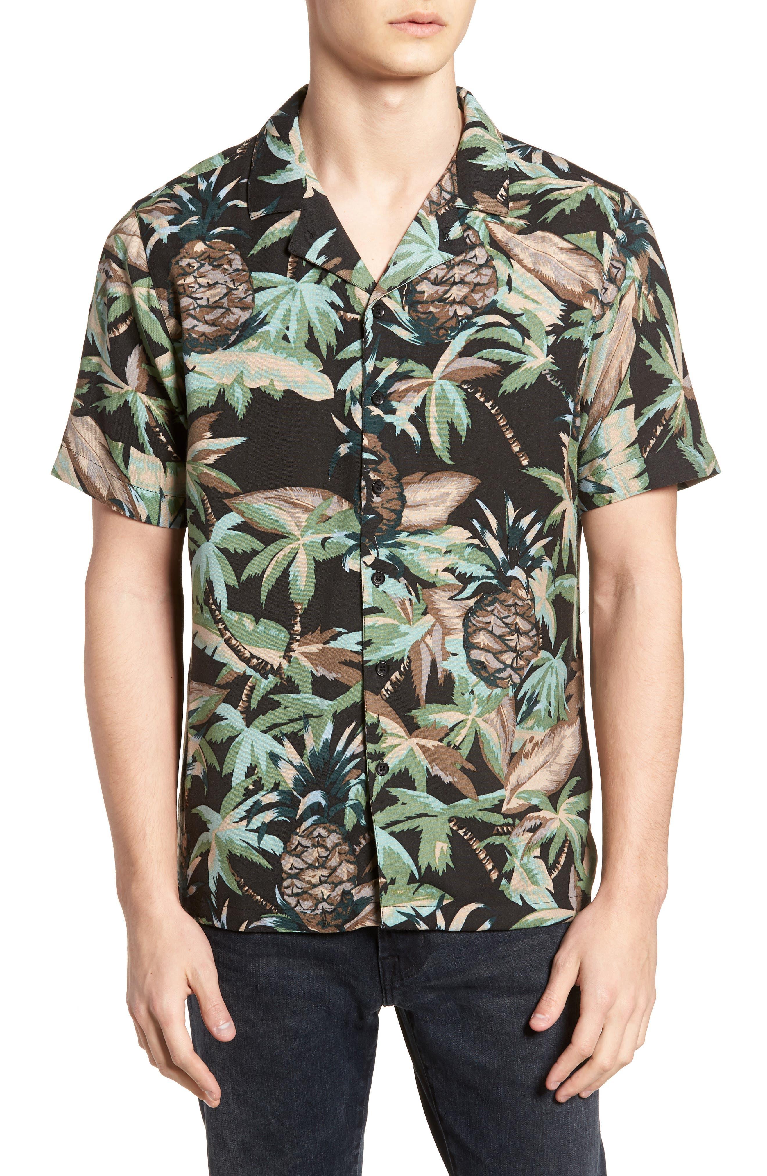 Night Beach Woven Shirt,                         Main,                         color, Black