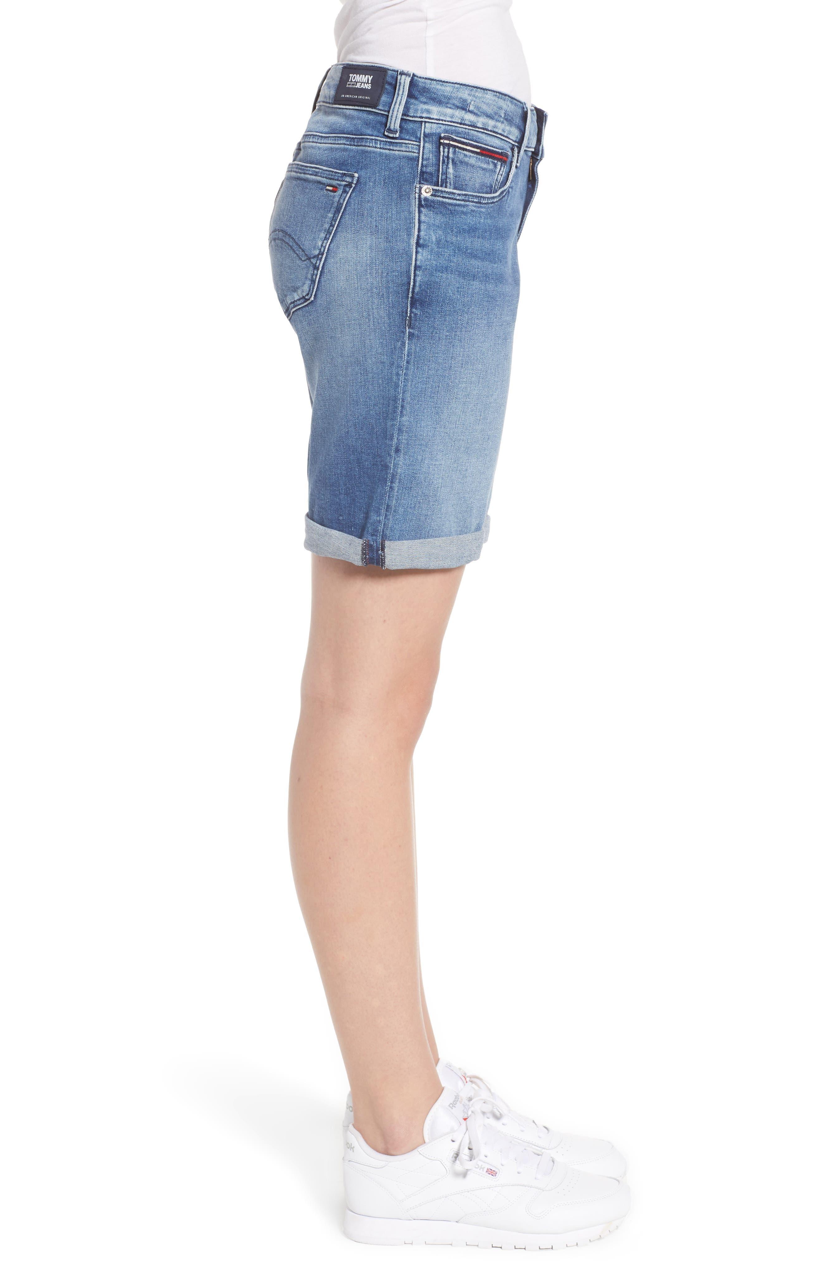 Classic Long Denim Shorts,                             Alternate thumbnail 4, color,                             Newport Mid Blue Str