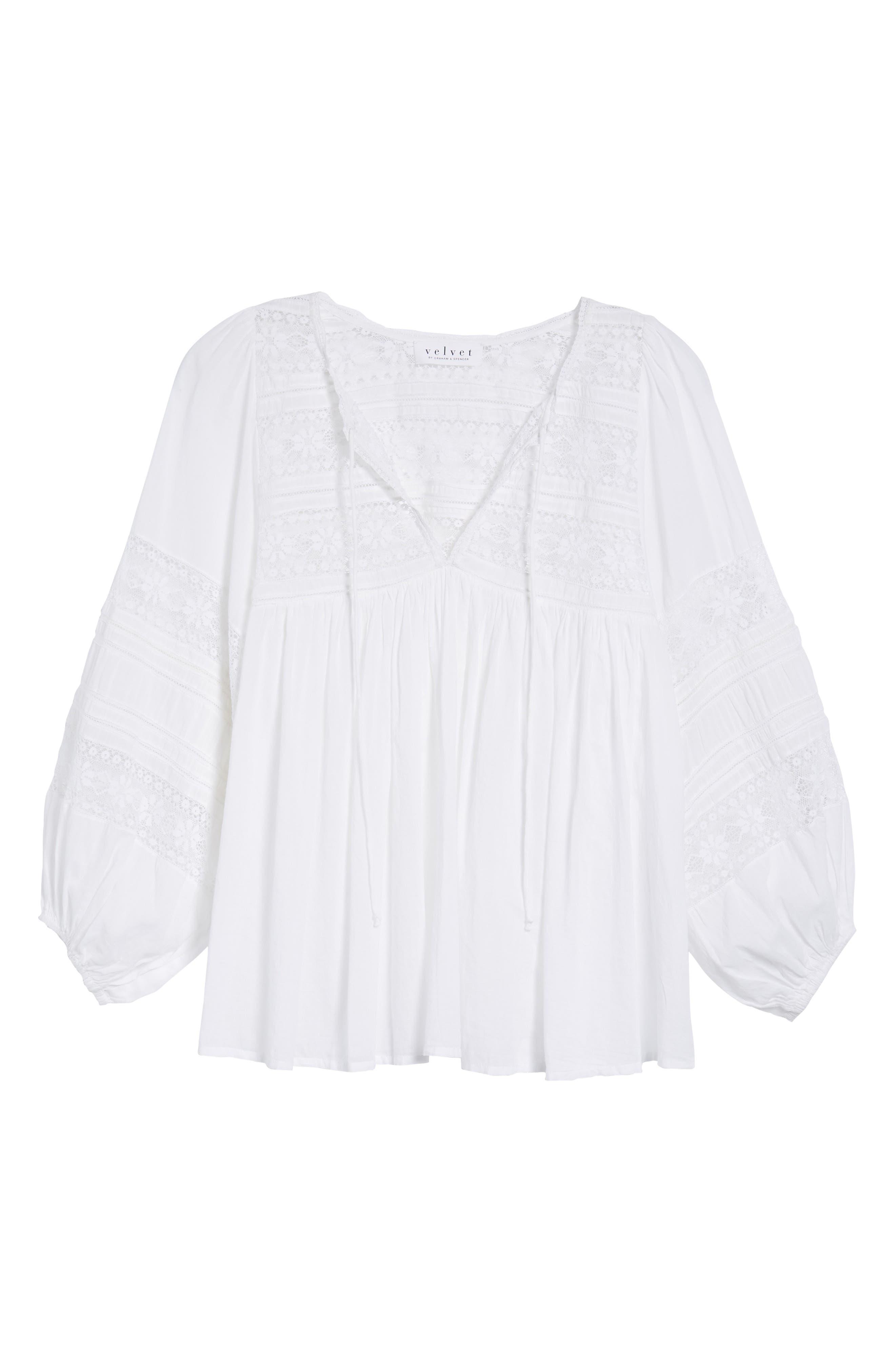 Cotton Lace Peasant Blouse,                             Alternate thumbnail 7, color,                             White