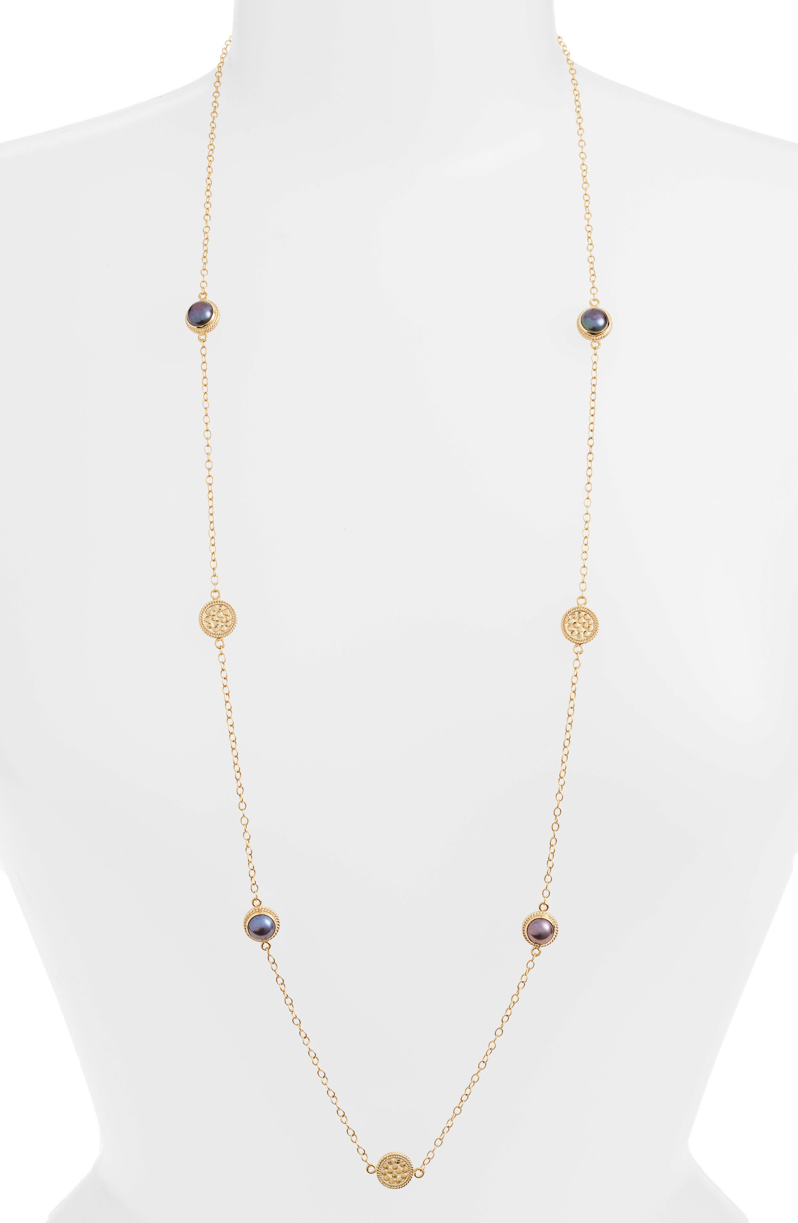 Alternate Image 1 Selected - Anna Beck Genuine Blue Pearl Station Necklace
