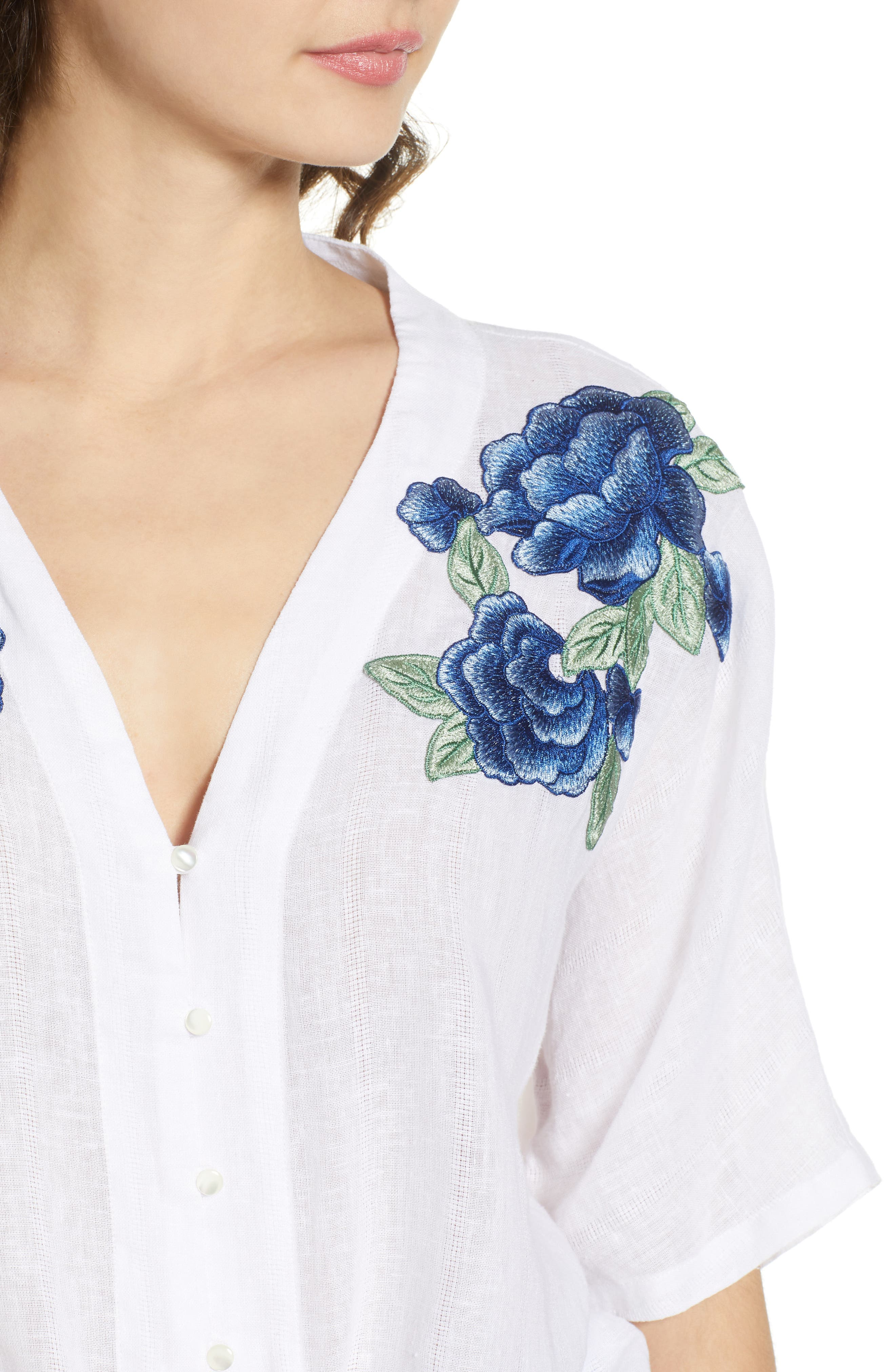 Thea Embroidered Tie Front Crop Top,                             Alternate thumbnail 4, color,                             Blue Rose Embroidery
