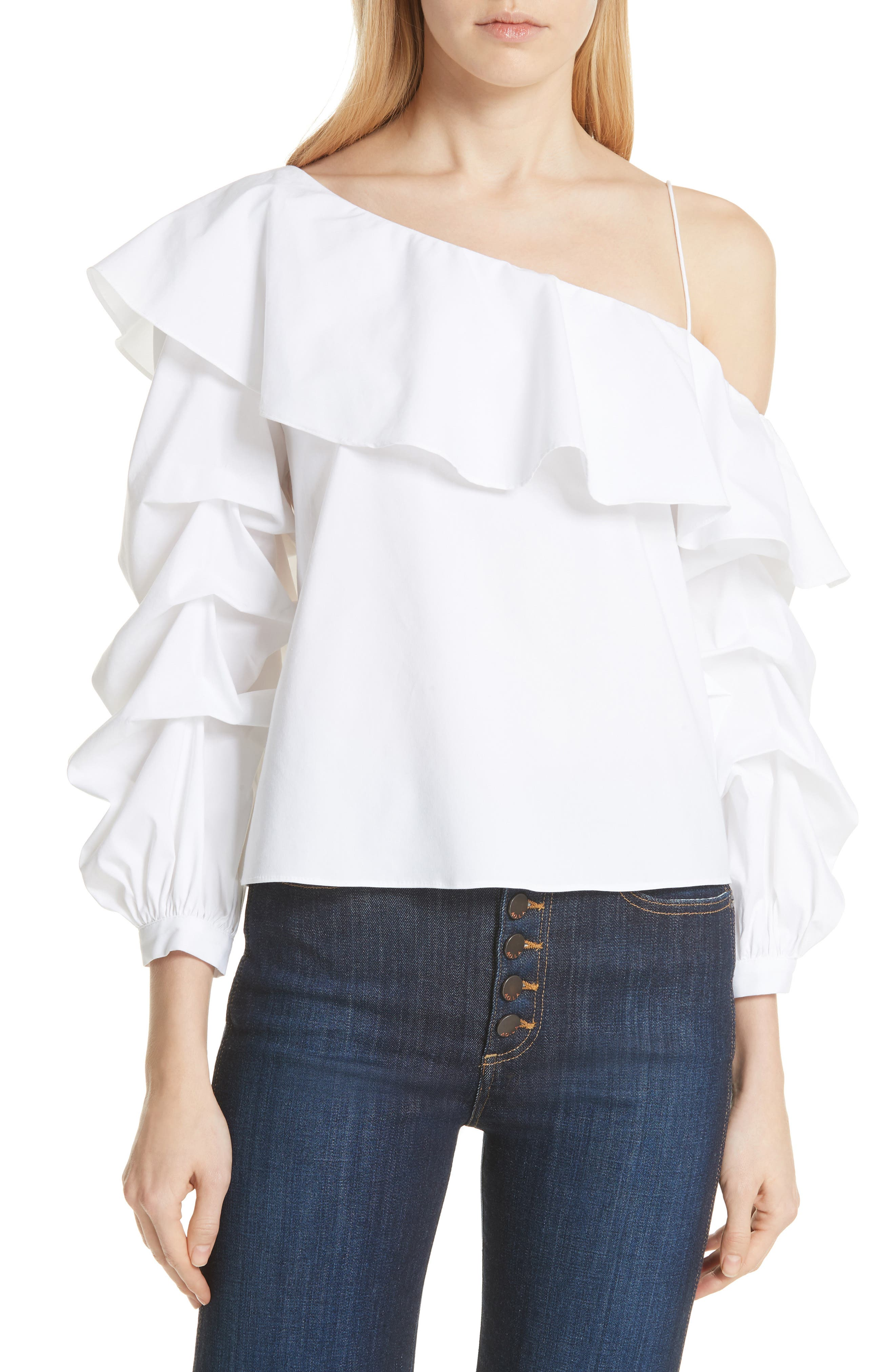 Irvine Ruffle One-Shoulder Blouse,                             Main thumbnail 1, color,                             White