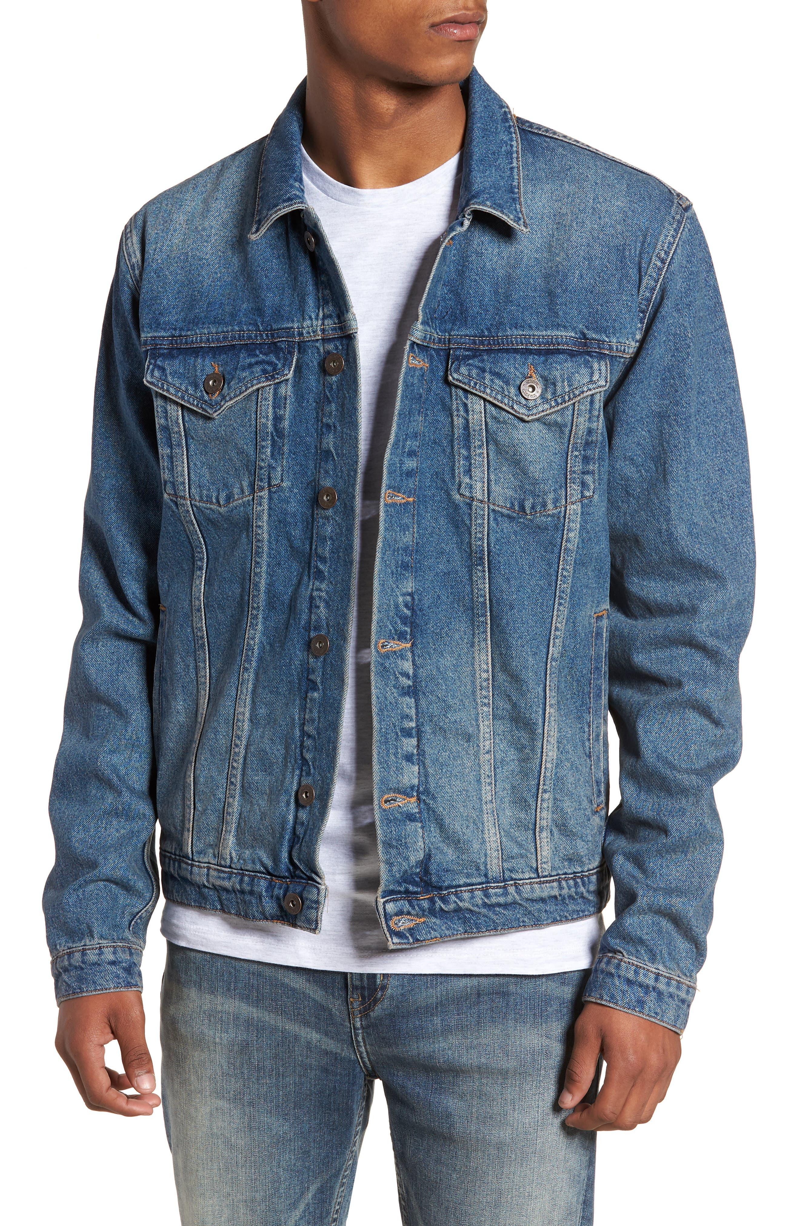 Main Image - Topman Mid Wash Denim Jacket