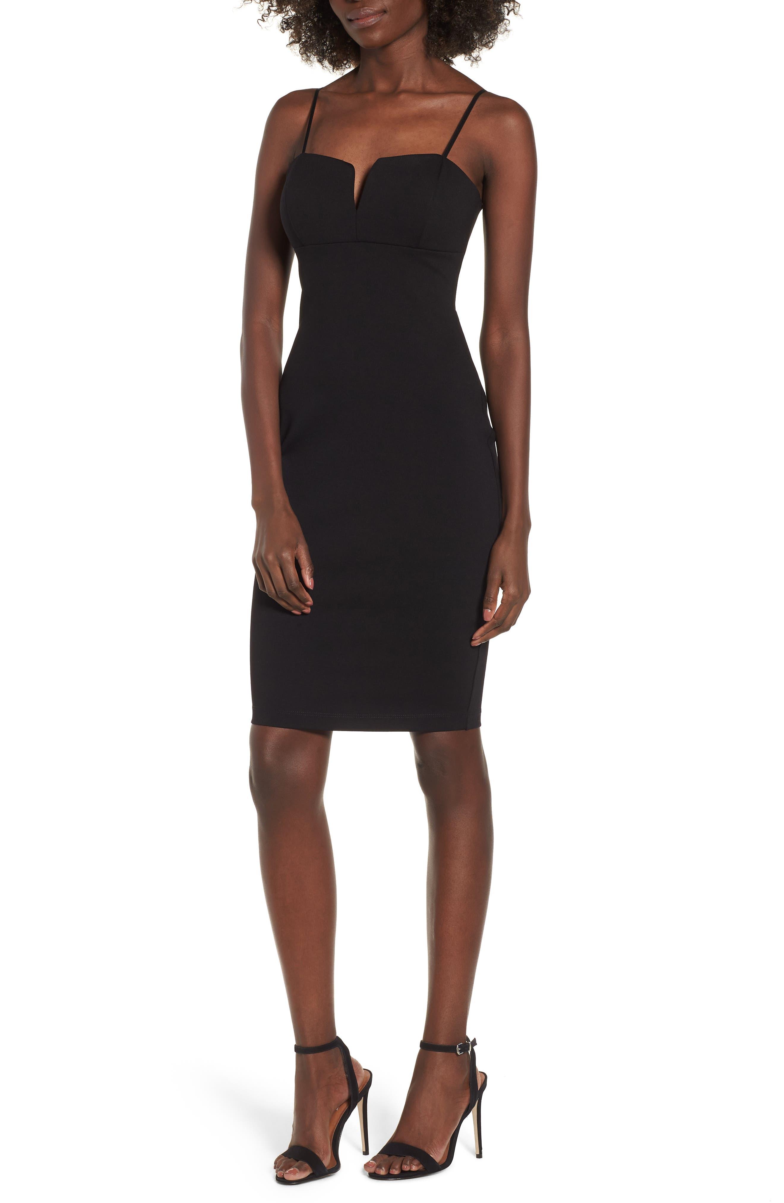 V-Front Bodycon Dress,                         Main,                         color, Black