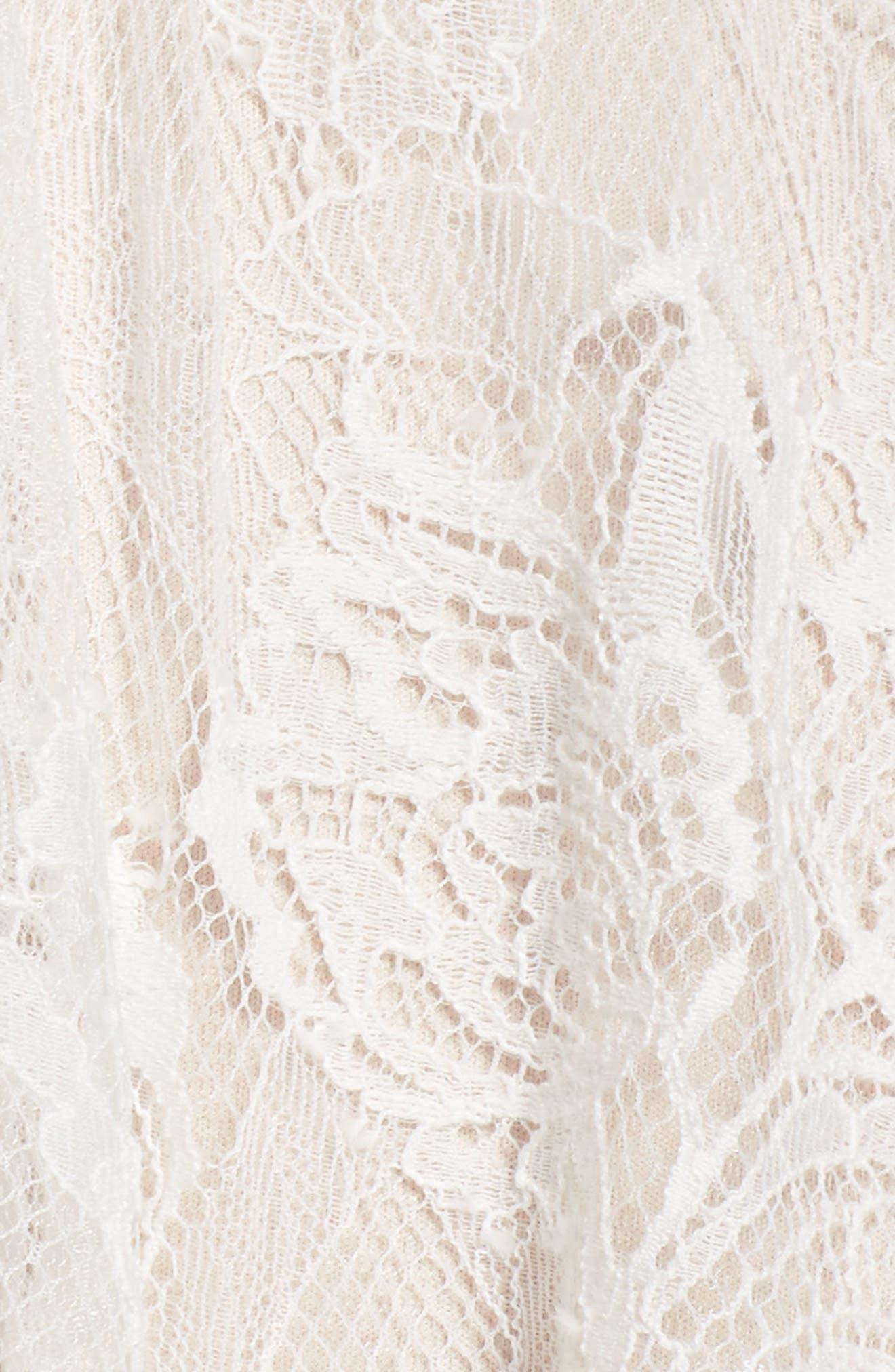 Lace Tea-Length Dress,                             Alternate thumbnail 5, color,                             Ivory/ Petal