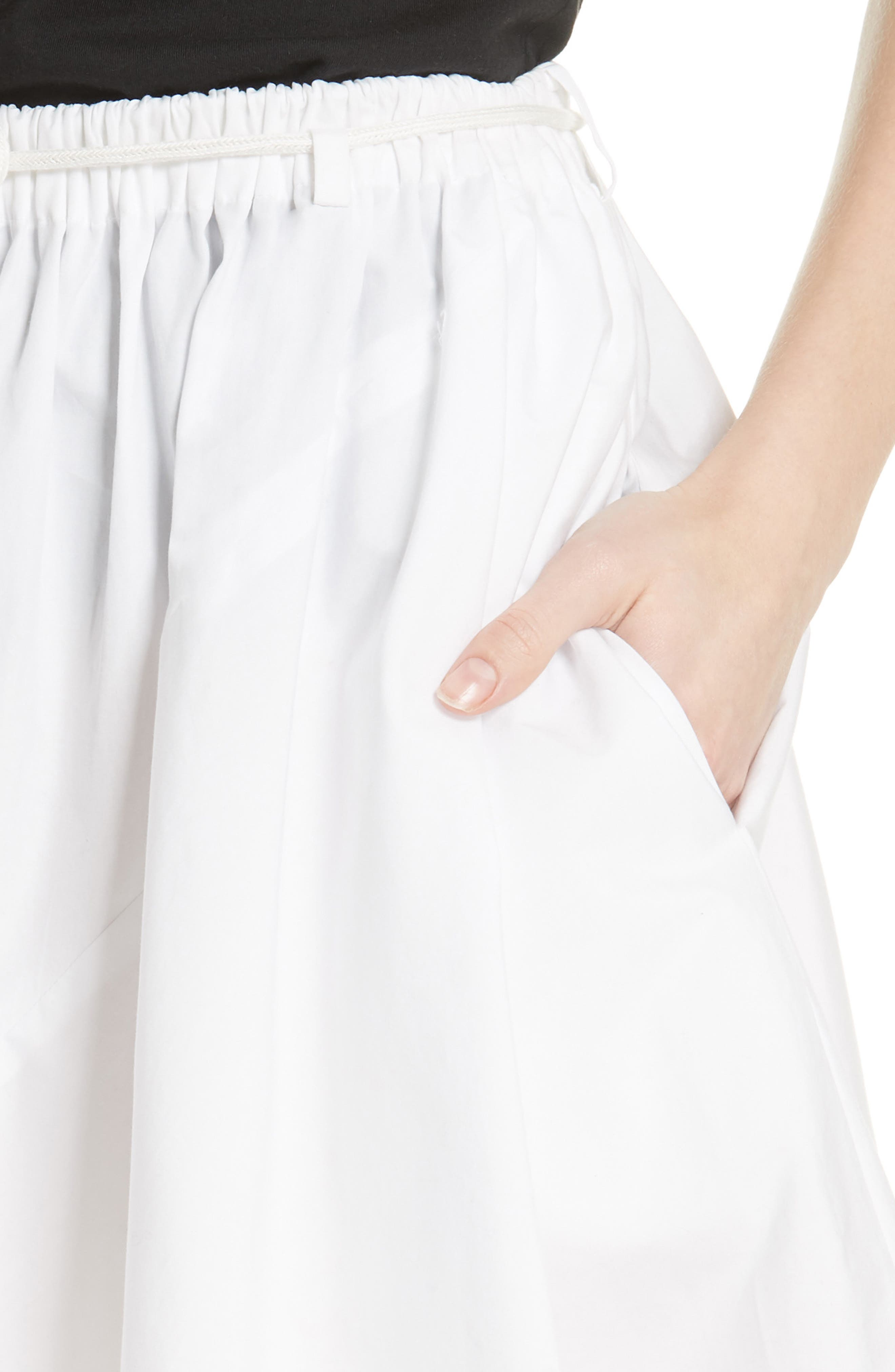 Asymmetrical Drawstring Cotton Skirt,                             Alternate thumbnail 4, color,                             Optic White
