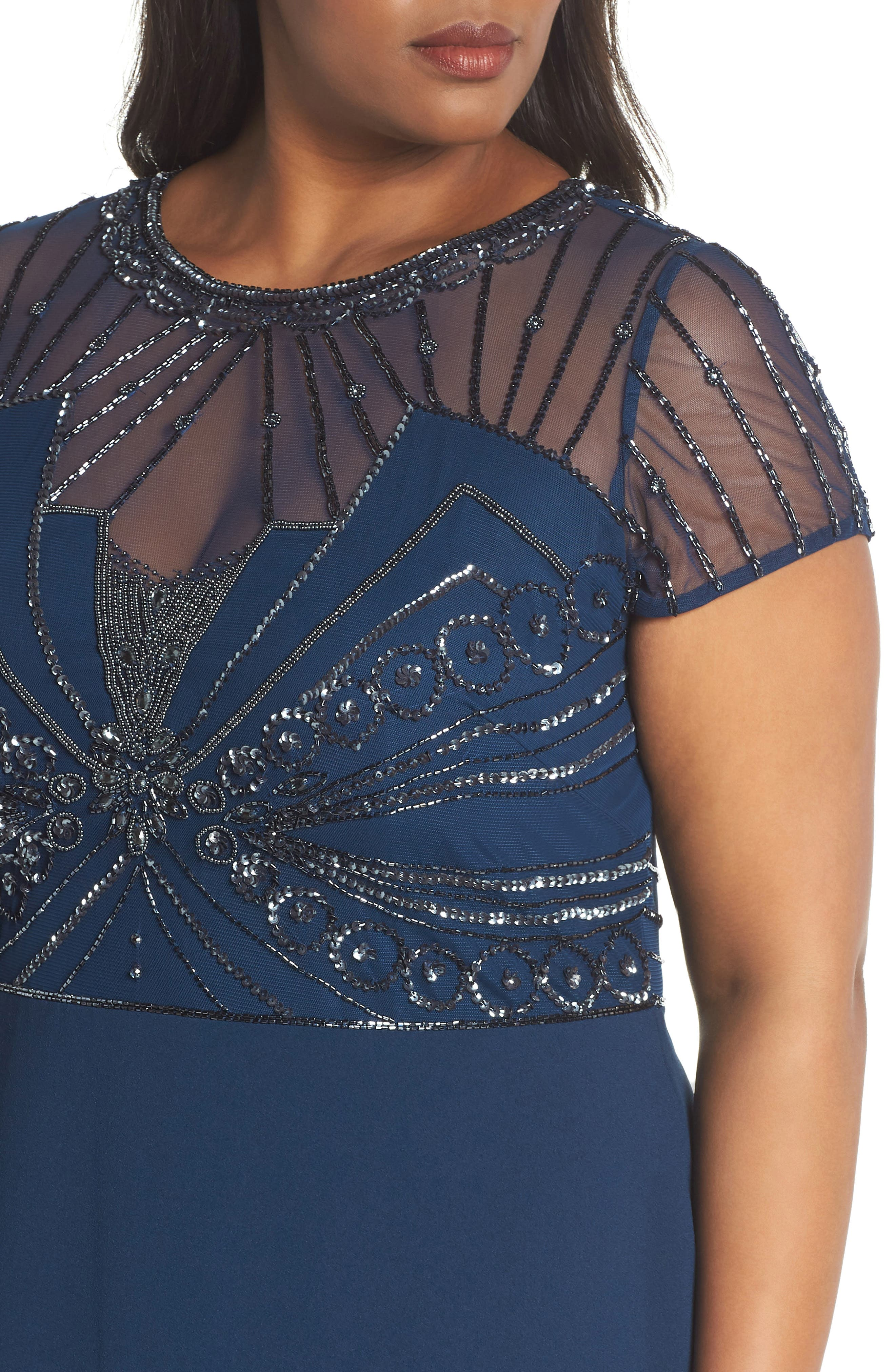 Beaded Bodice Crepe Gown,                             Alternate thumbnail 4, color,                             Deep Blue