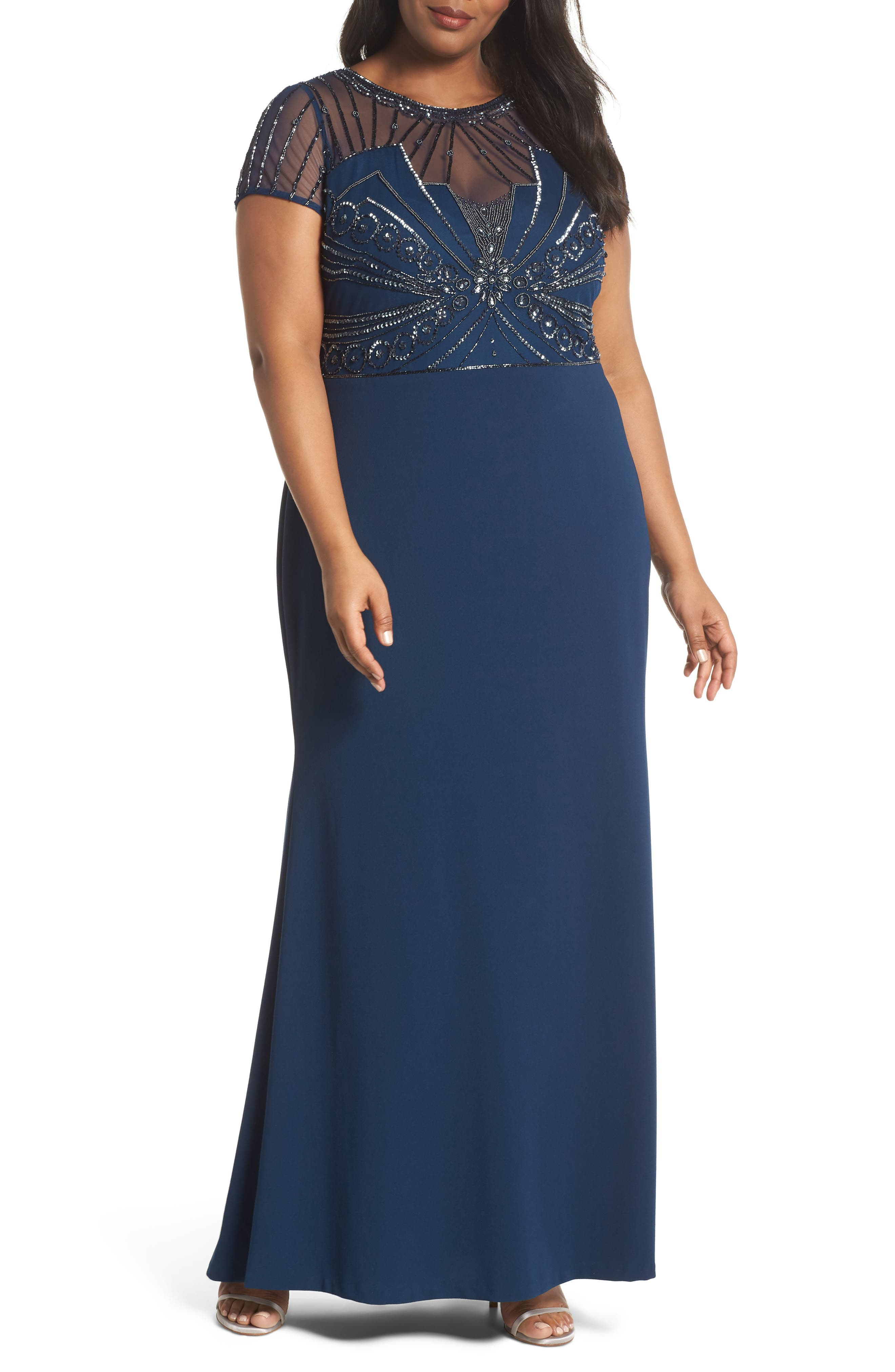 Beaded Bodice Crepe Gown,                         Main,                         color, Deep Blue