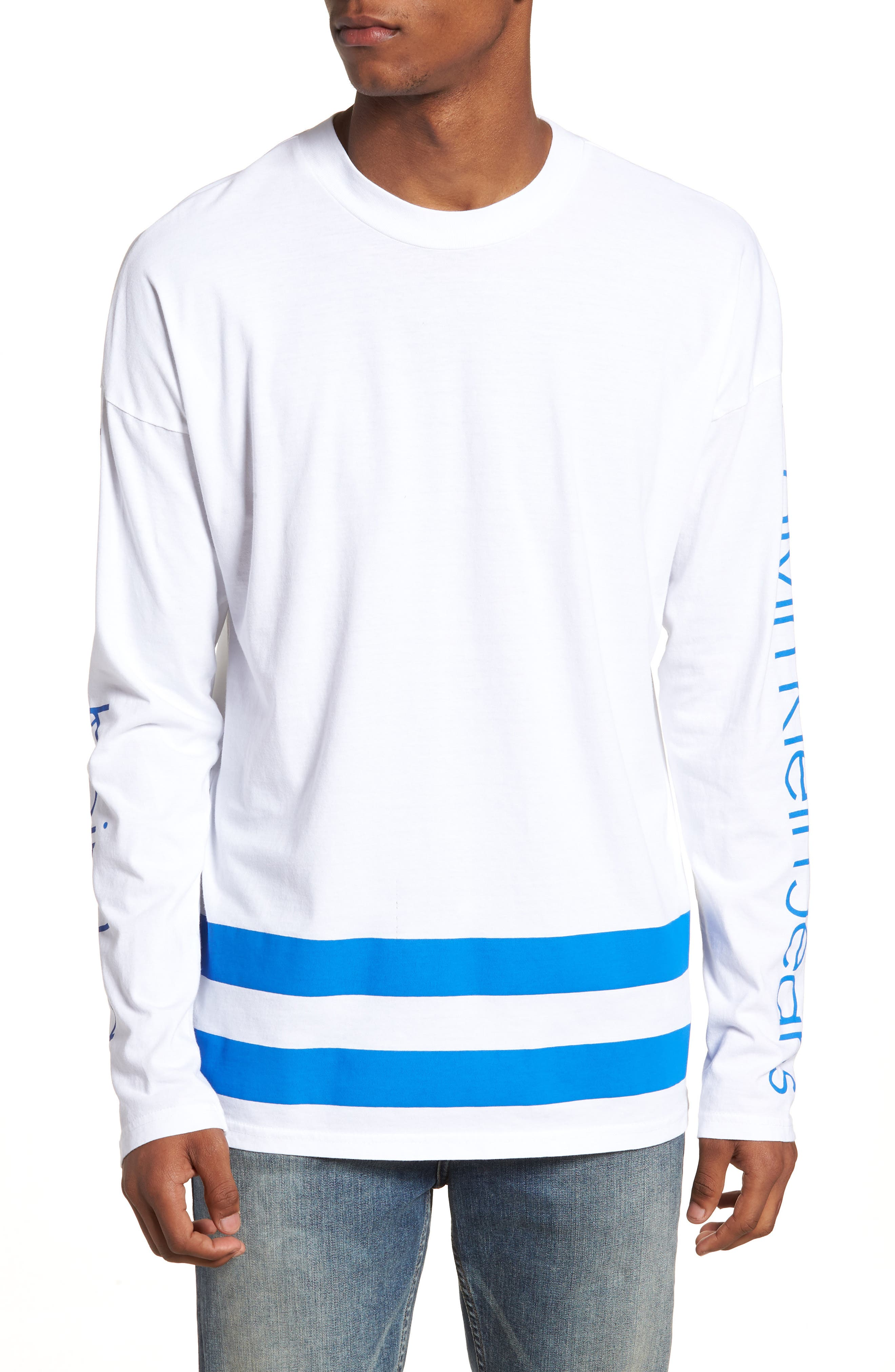 Athletic Stripe T-Shirt,                             Main thumbnail 1, color,                             Strong Blue