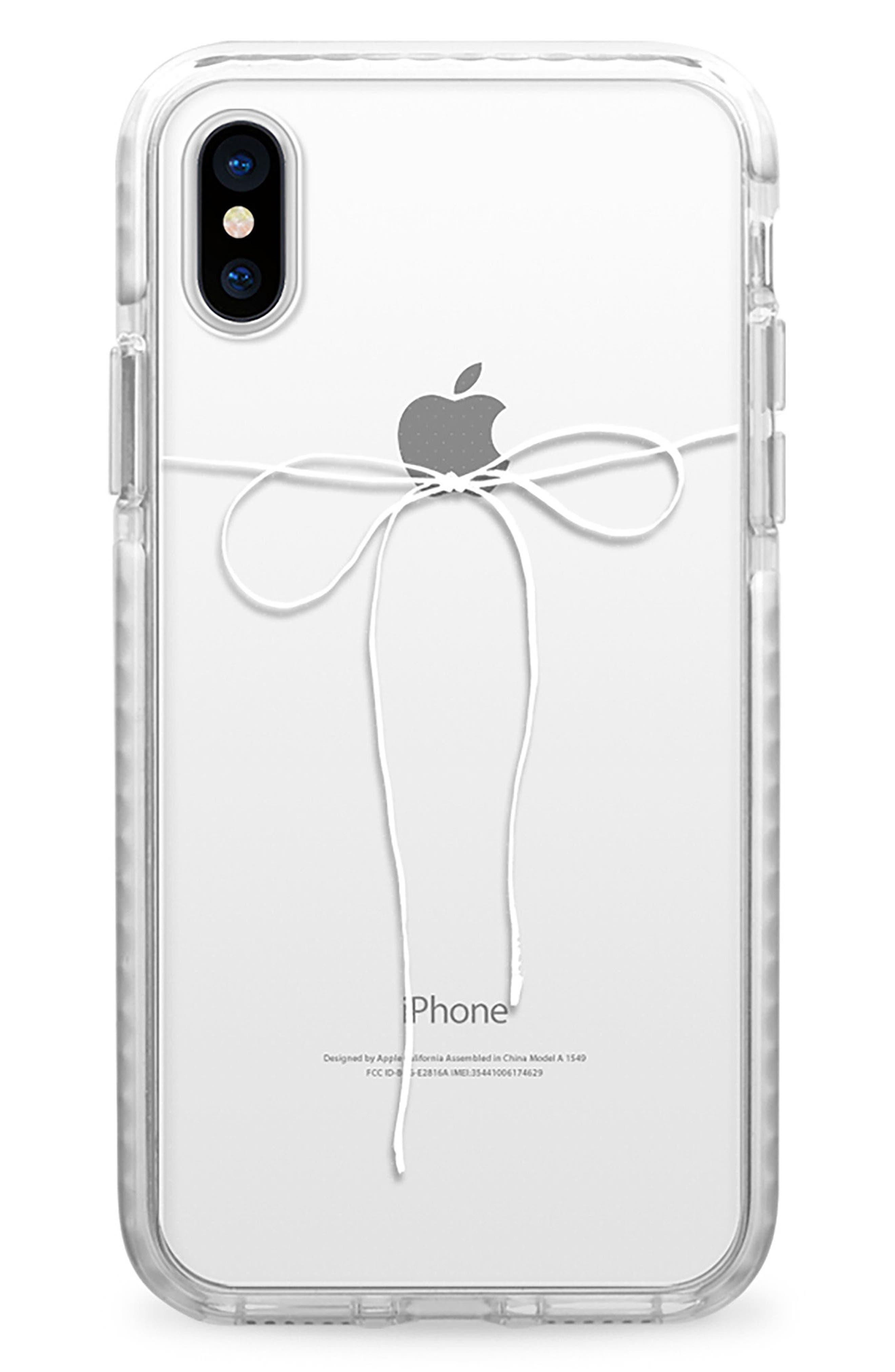 Take a Bow Clear iPhone X & Xs Case,                             Main thumbnail 1, color,                             Clear White