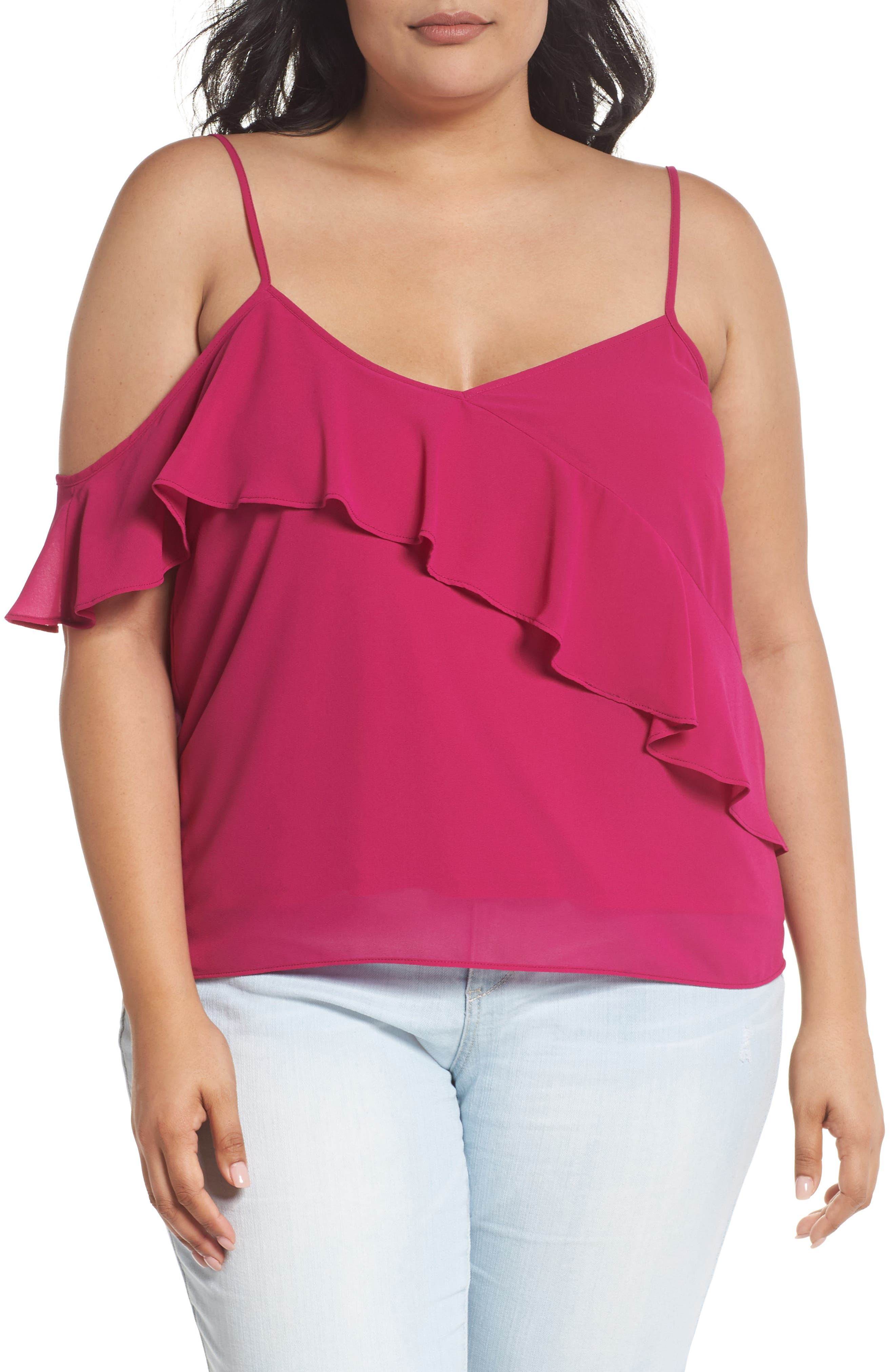 One Ruffle Camisole,                             Main thumbnail 1, color,                             Pink