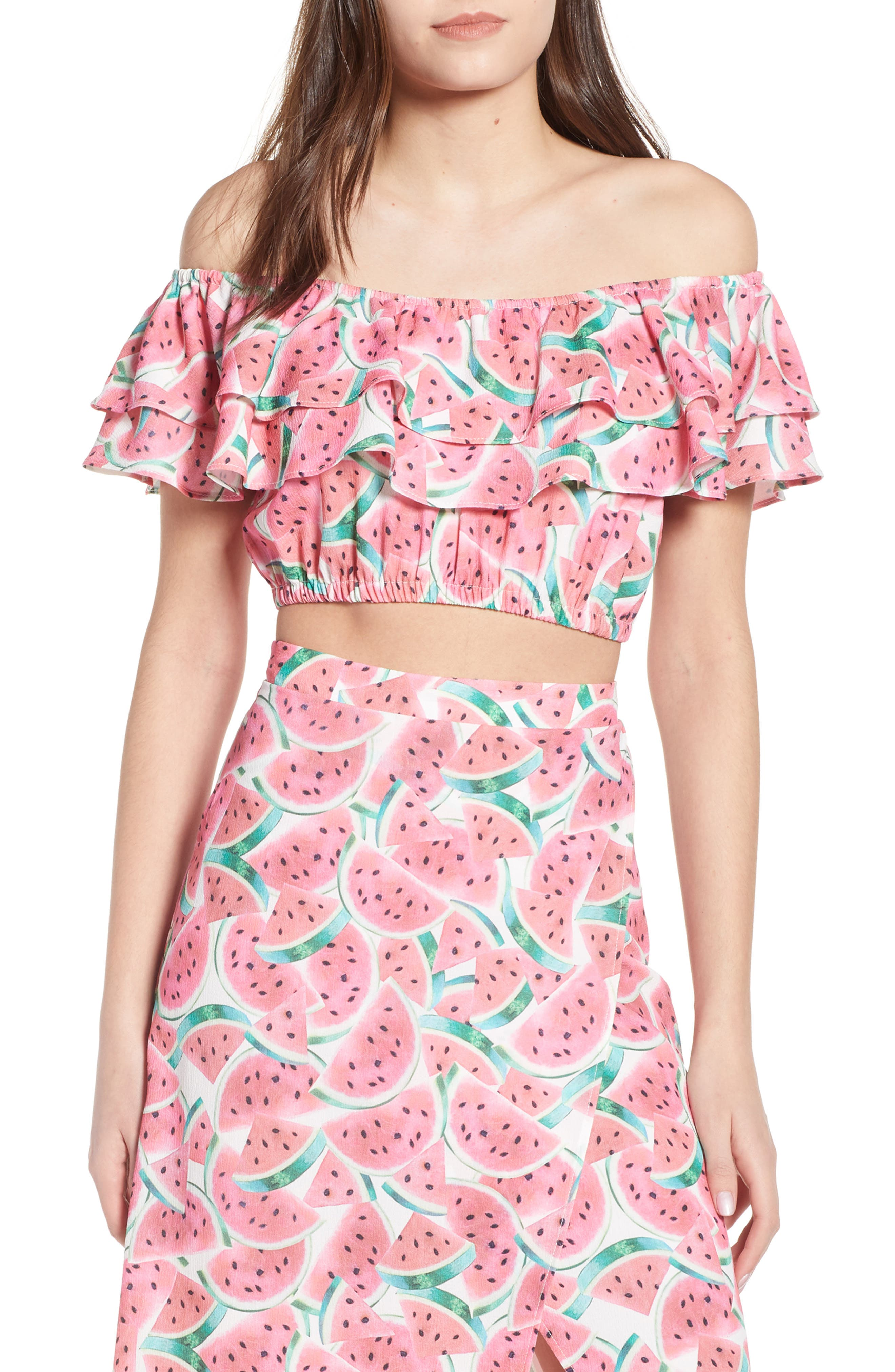 Kaya Crop Top,                         Main,                         color, One In A Melon Crinkle Stretch