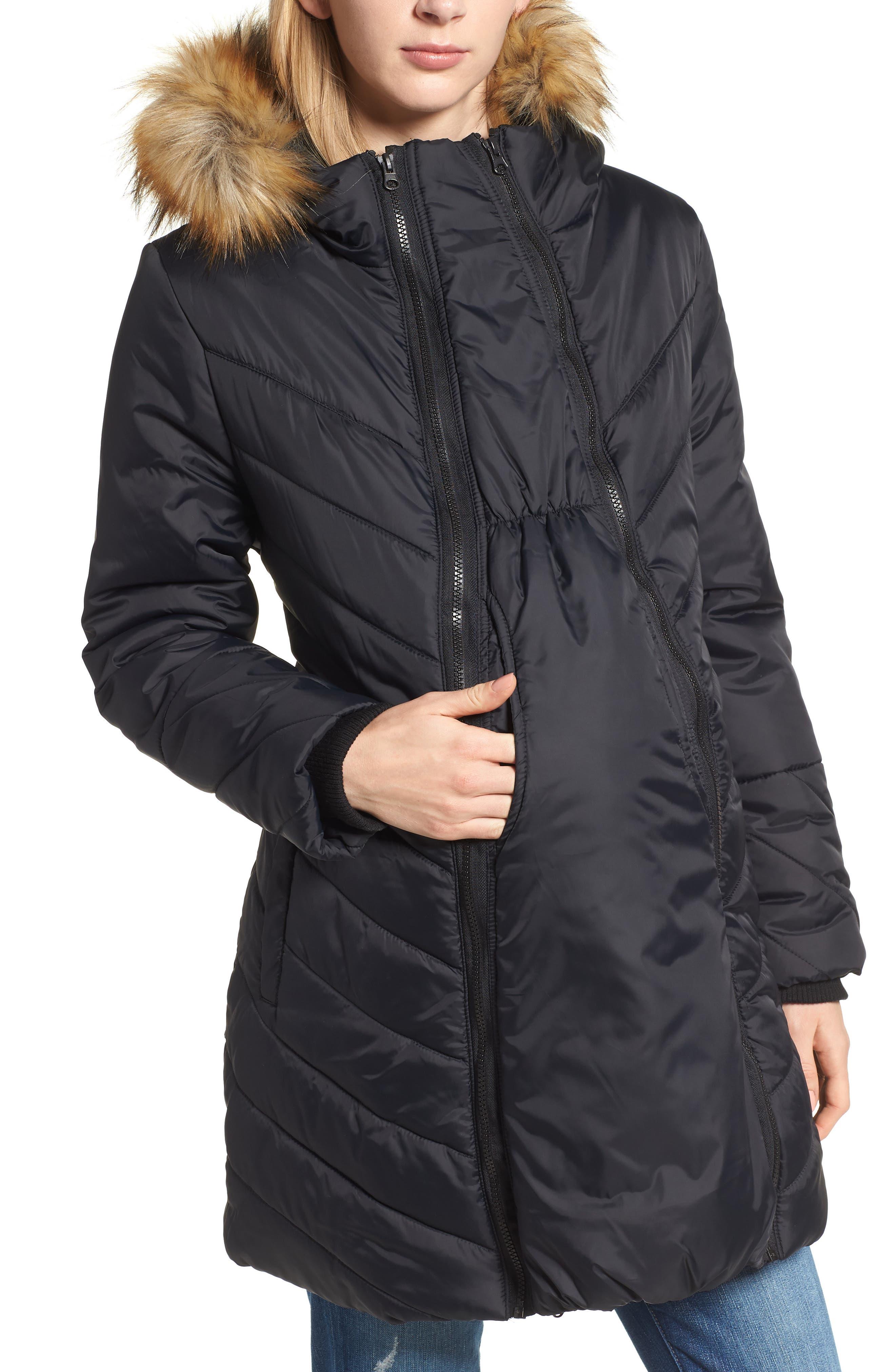 Faux Fur Trim Convertible Puffer 3-in-1 Maternity Jacket,                         Main,                         color, Black