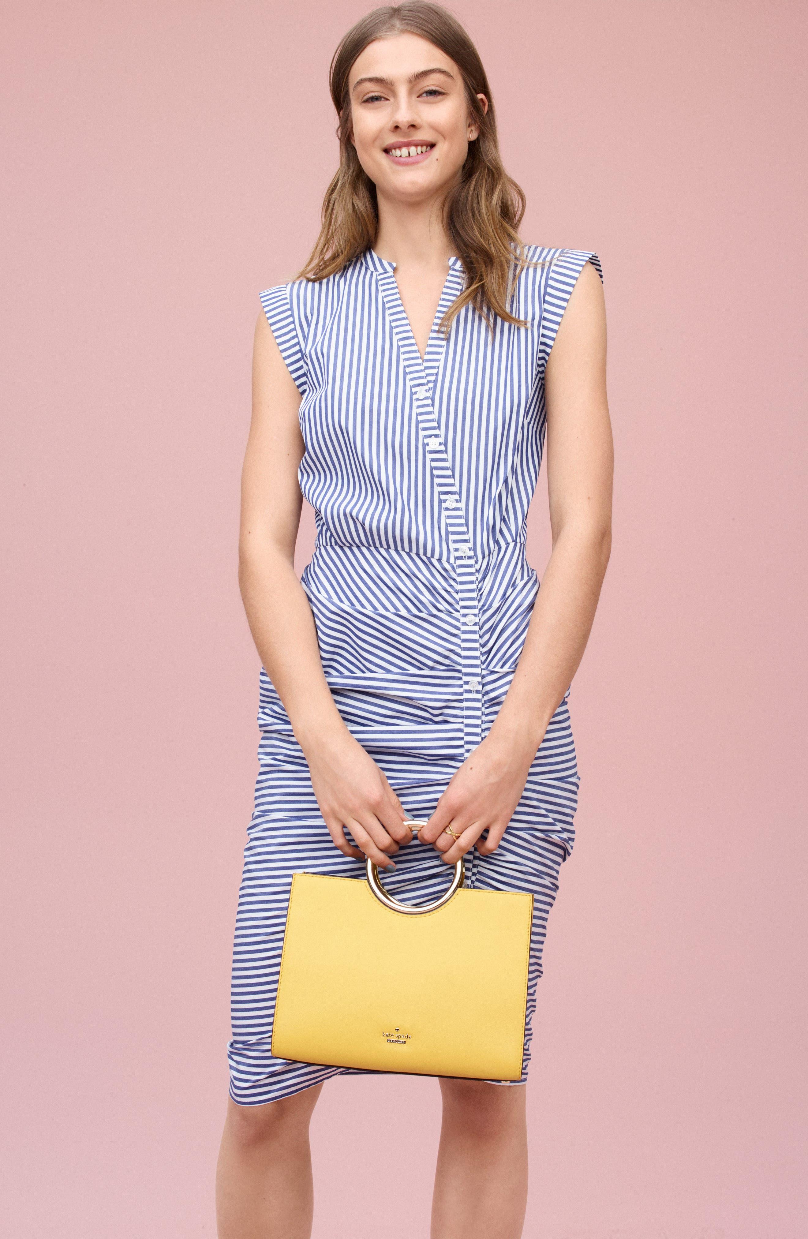 Stripe Ruched Cotton Shirtdress,                             Alternate thumbnail 3, color,                             Blue White Stripe