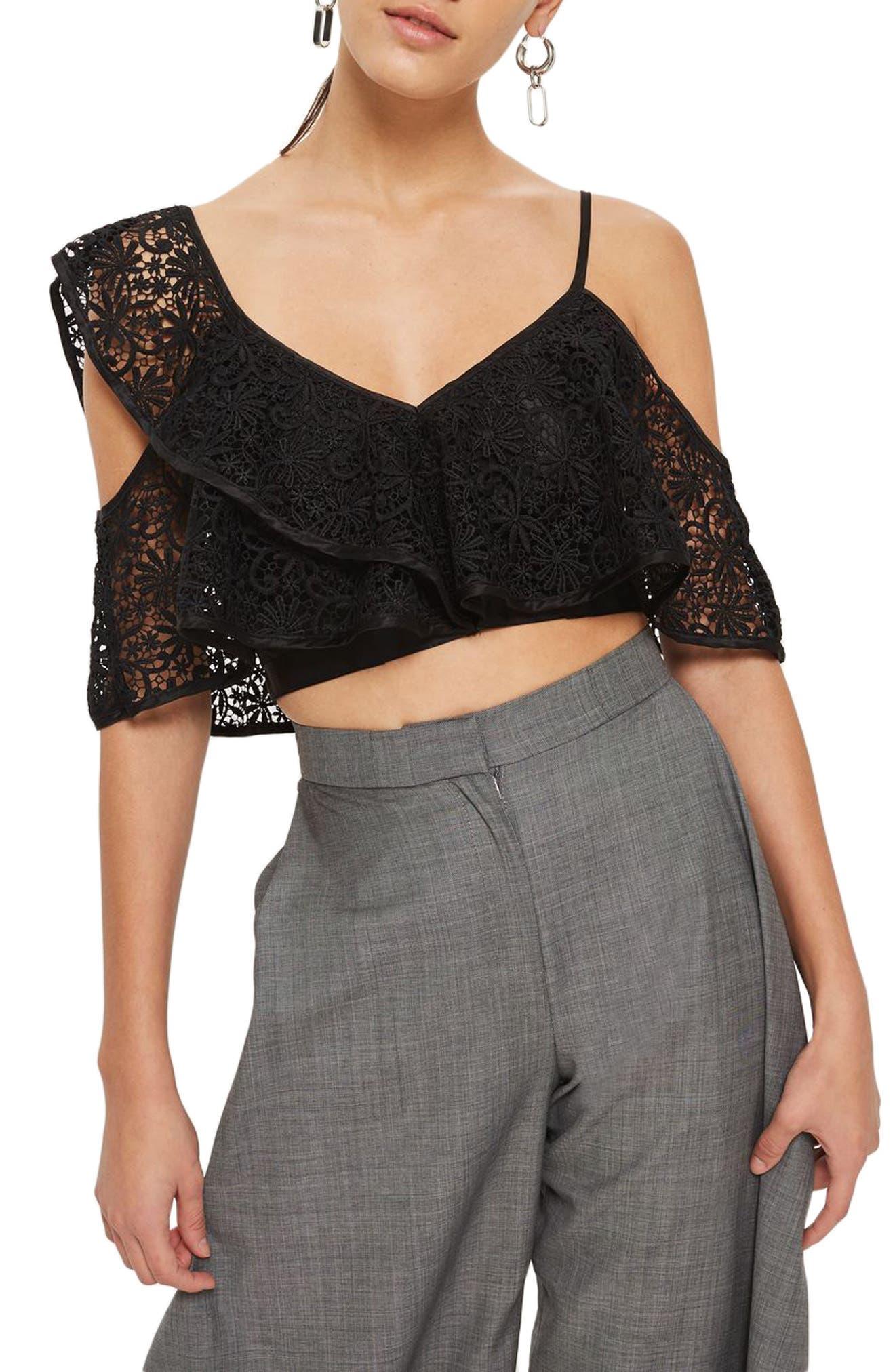 Lace One-Shoulder Crop Top,                             Main thumbnail 1, color,                             Black