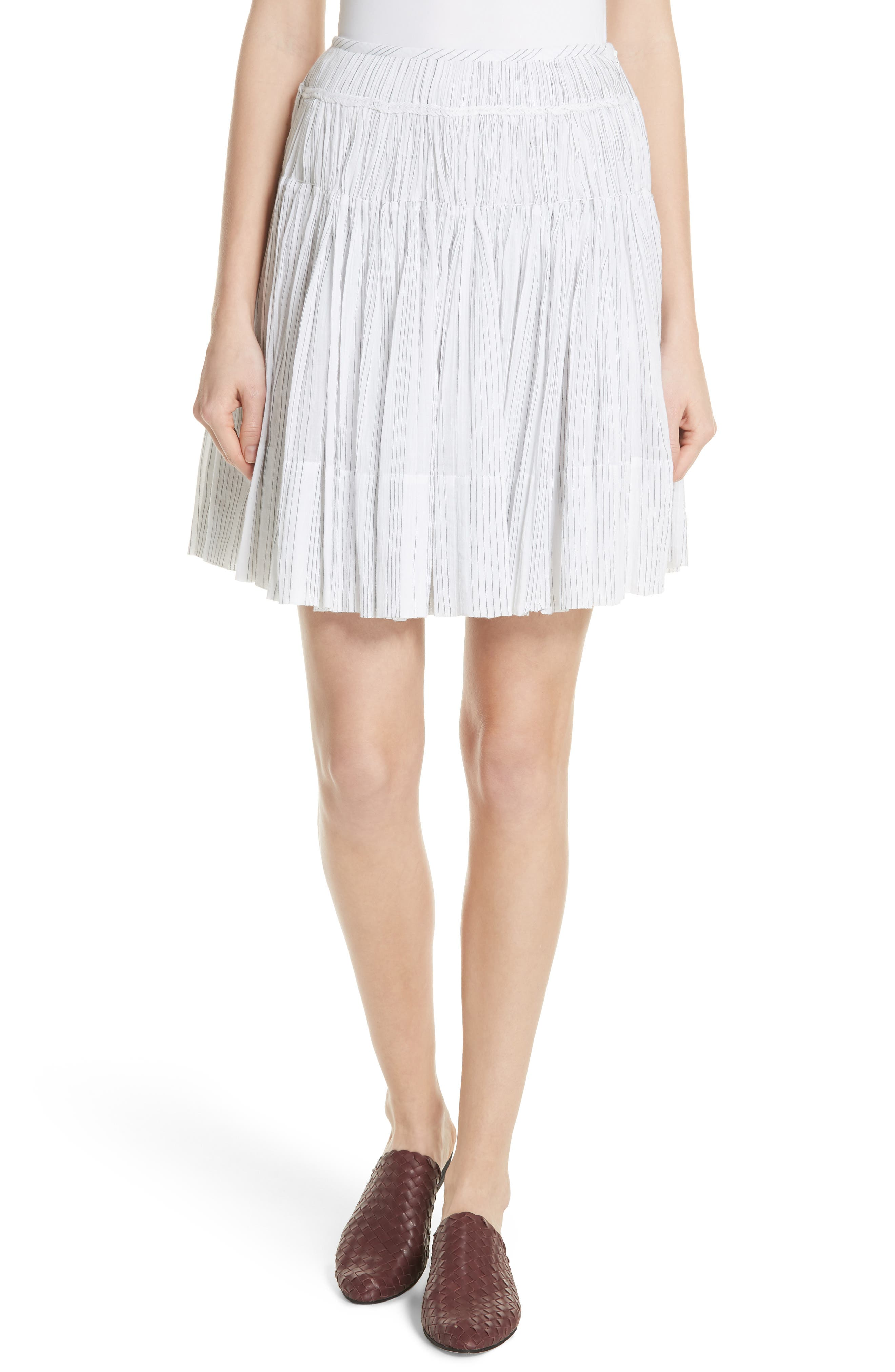 Variegated Stripe Pleat Skirt,                             Main thumbnail 1, color,                             Optic White/ Black