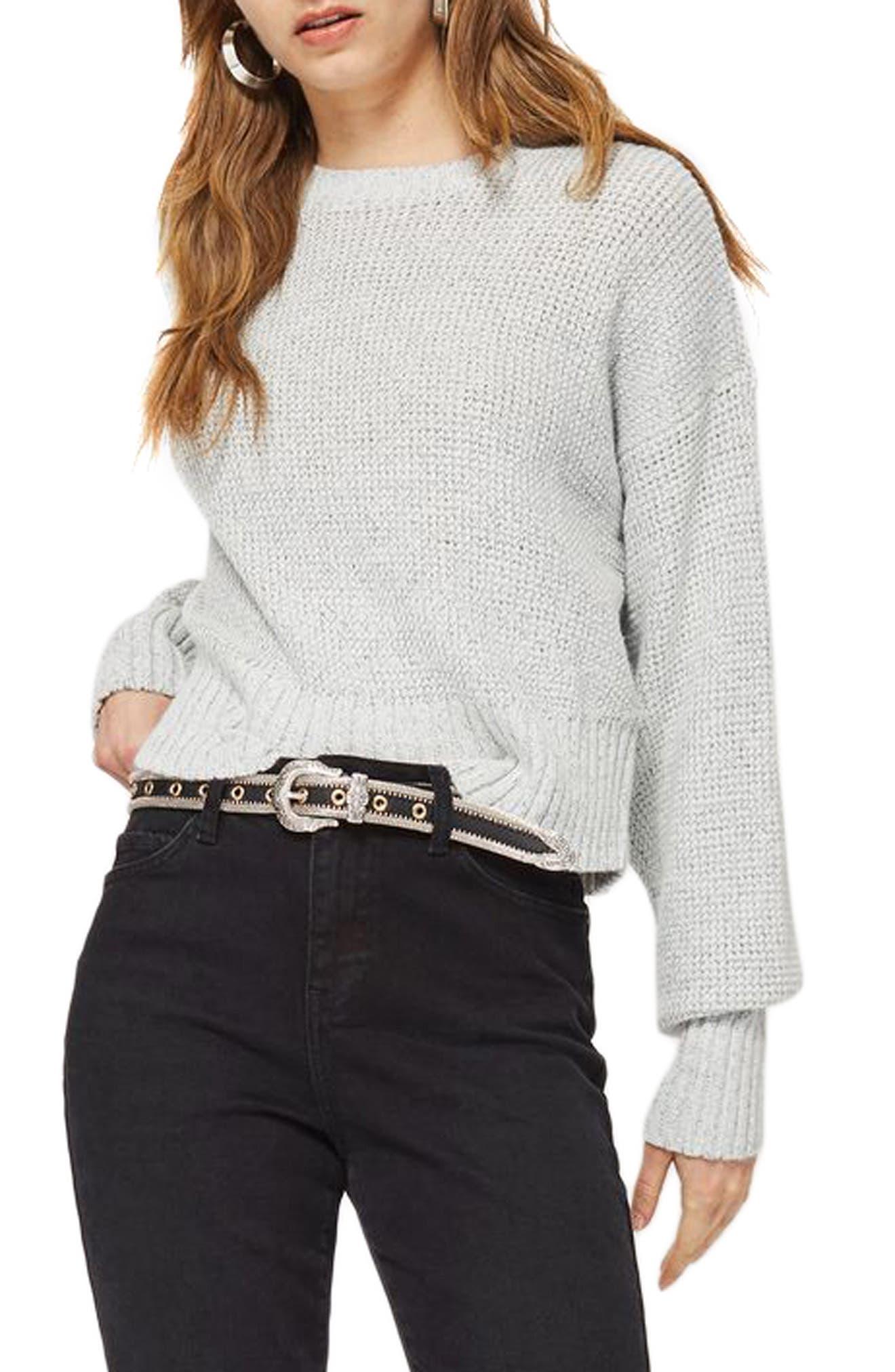 Petite Crop Sweater,                             Main thumbnail 1, color,                             Grey