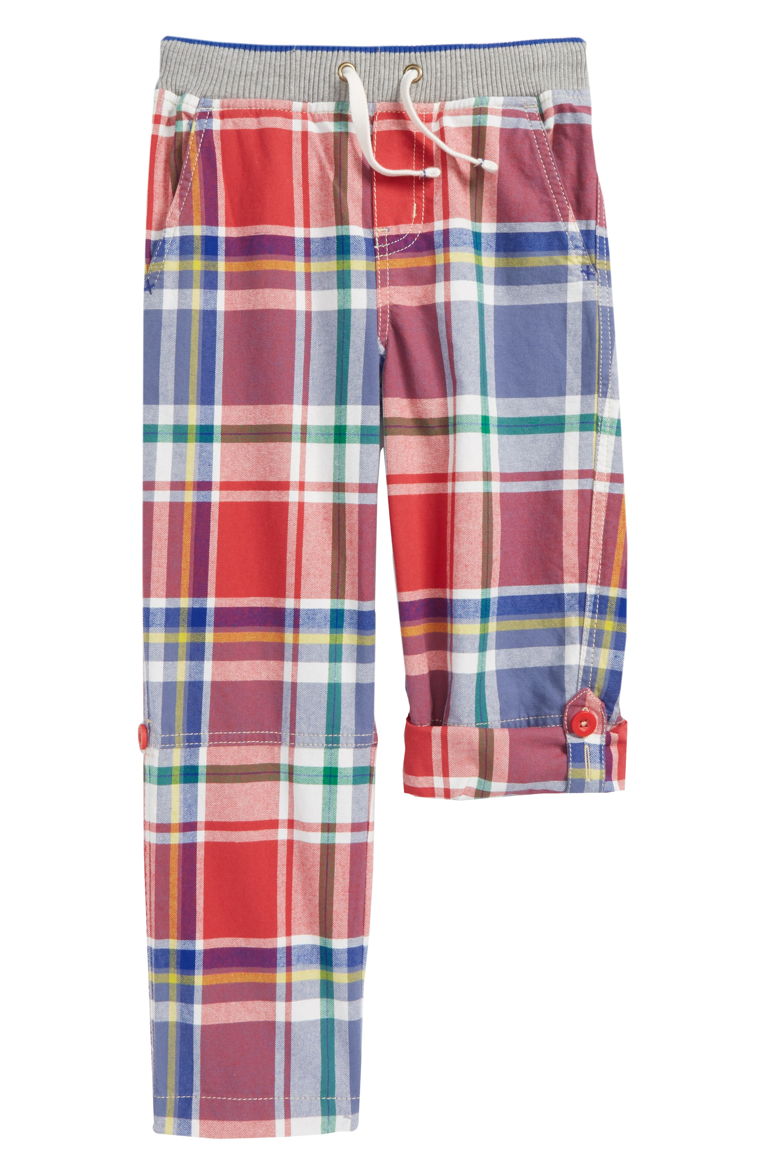 Plaid Roll-Up Pants,                             Main thumbnail 1, color,                             Washed Crimson Red/ Blue