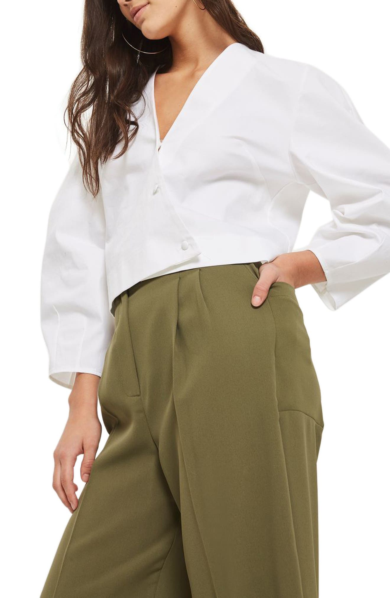 Wide Crop Utility Trousers,                             Alternate thumbnail 3, color,                             Olive
