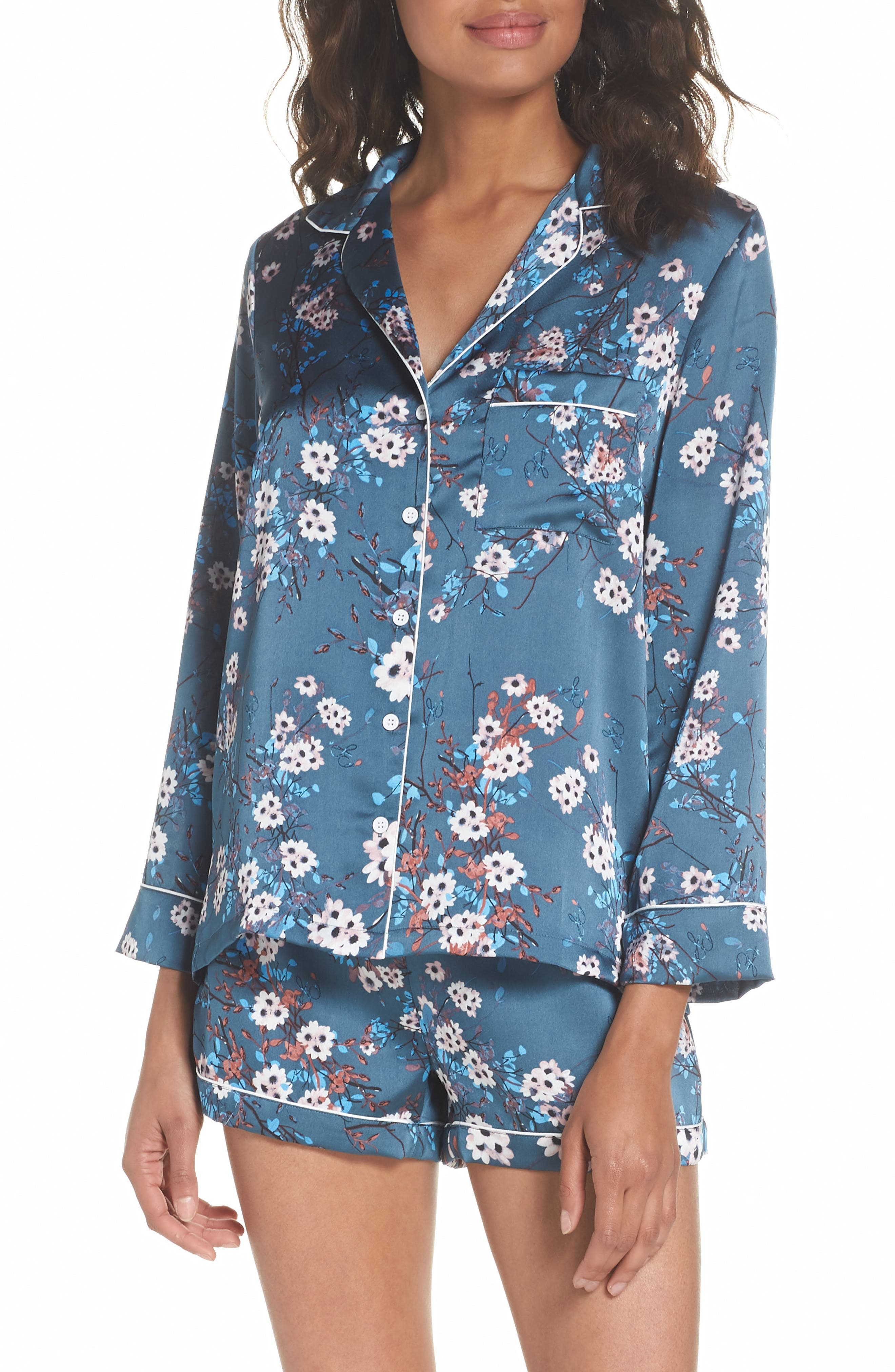 Short Pajamas,                             Main thumbnail 1, color,                             Mocorran Blue Floral