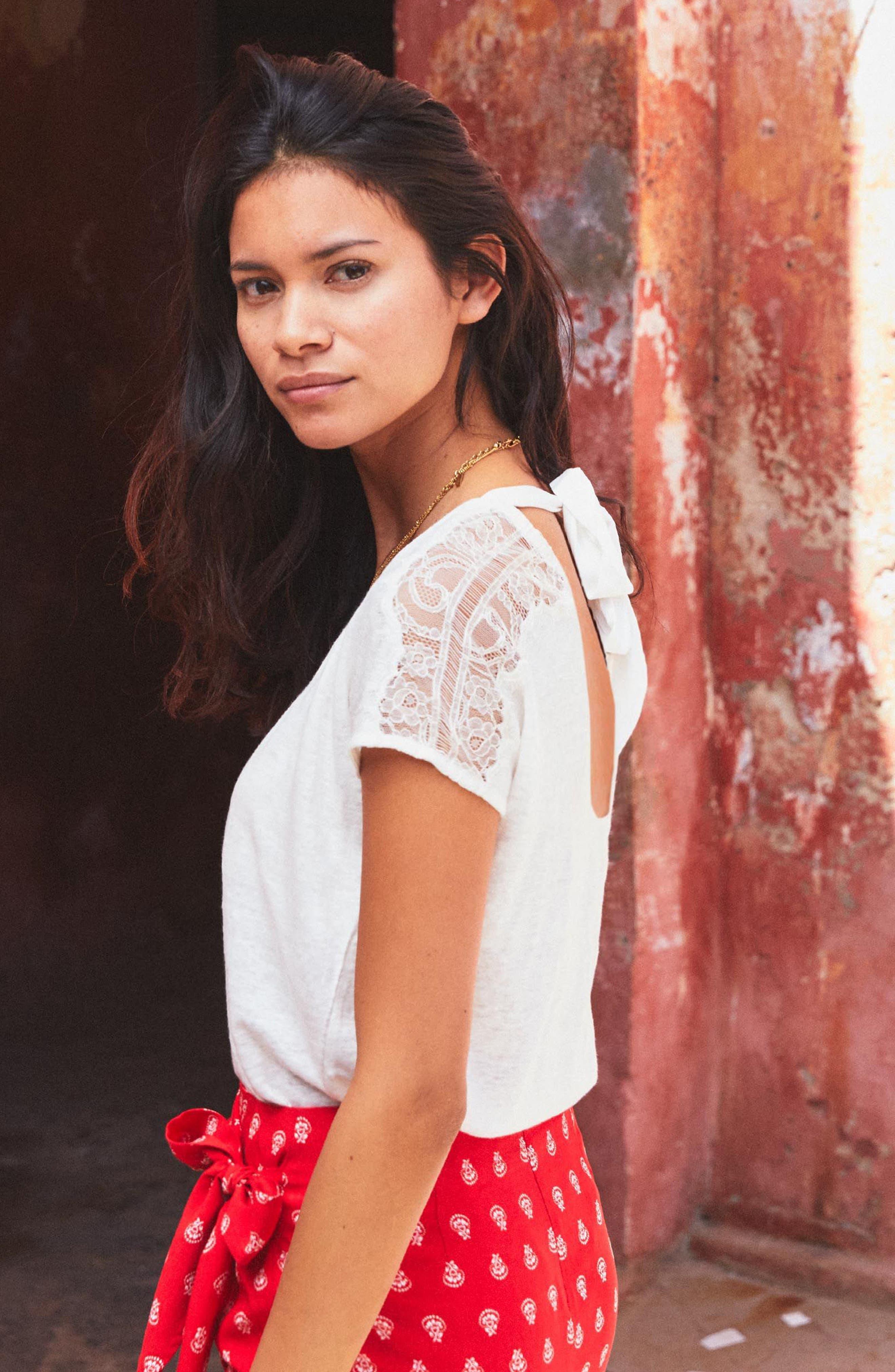 Livia Lace Shoulder Back Tie Linen Tee,                             Alternate thumbnail 2, color,                             Off White