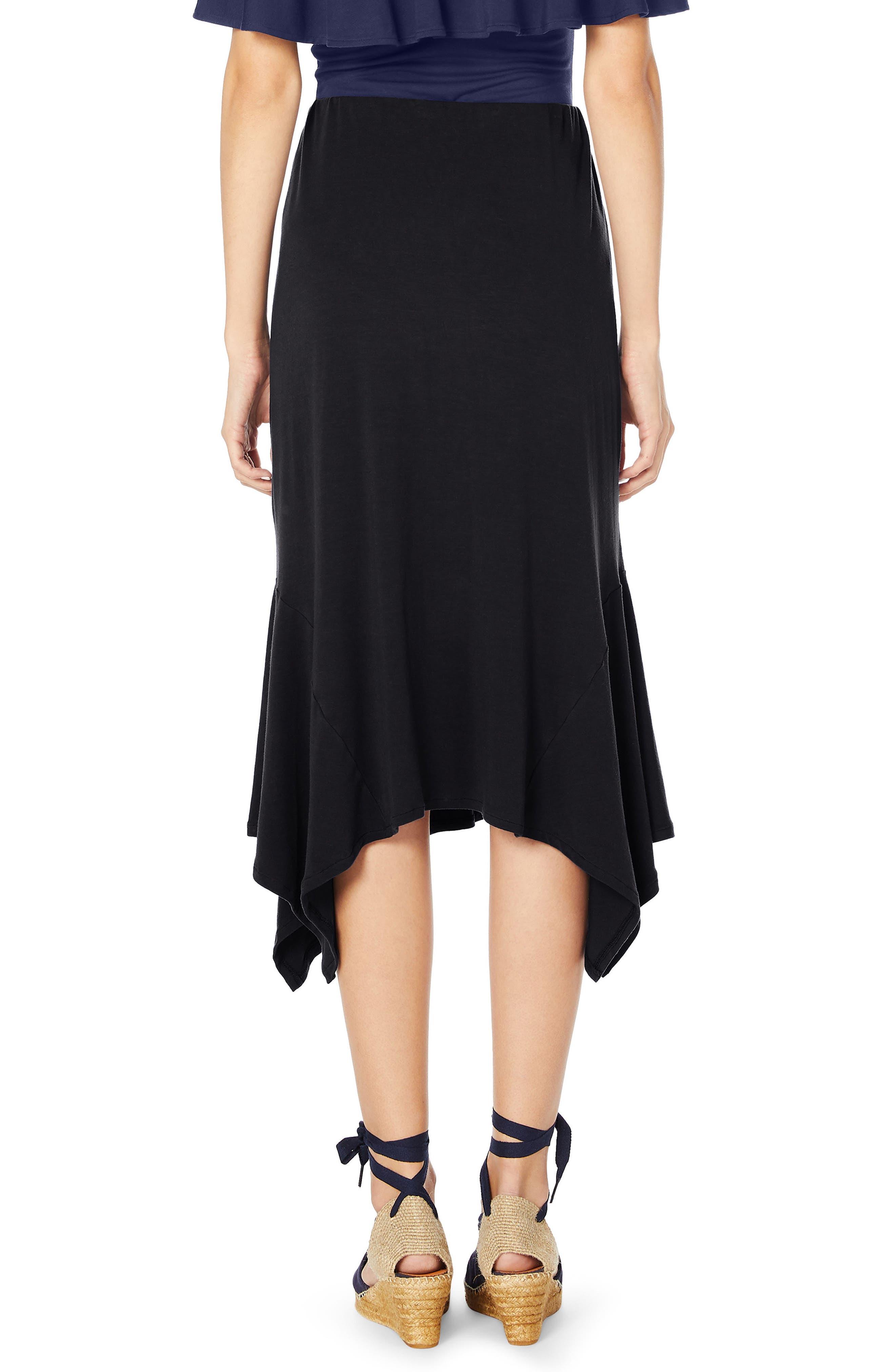 Sharkbite Midi Skirt,                             Alternate thumbnail 2, color,                             Black