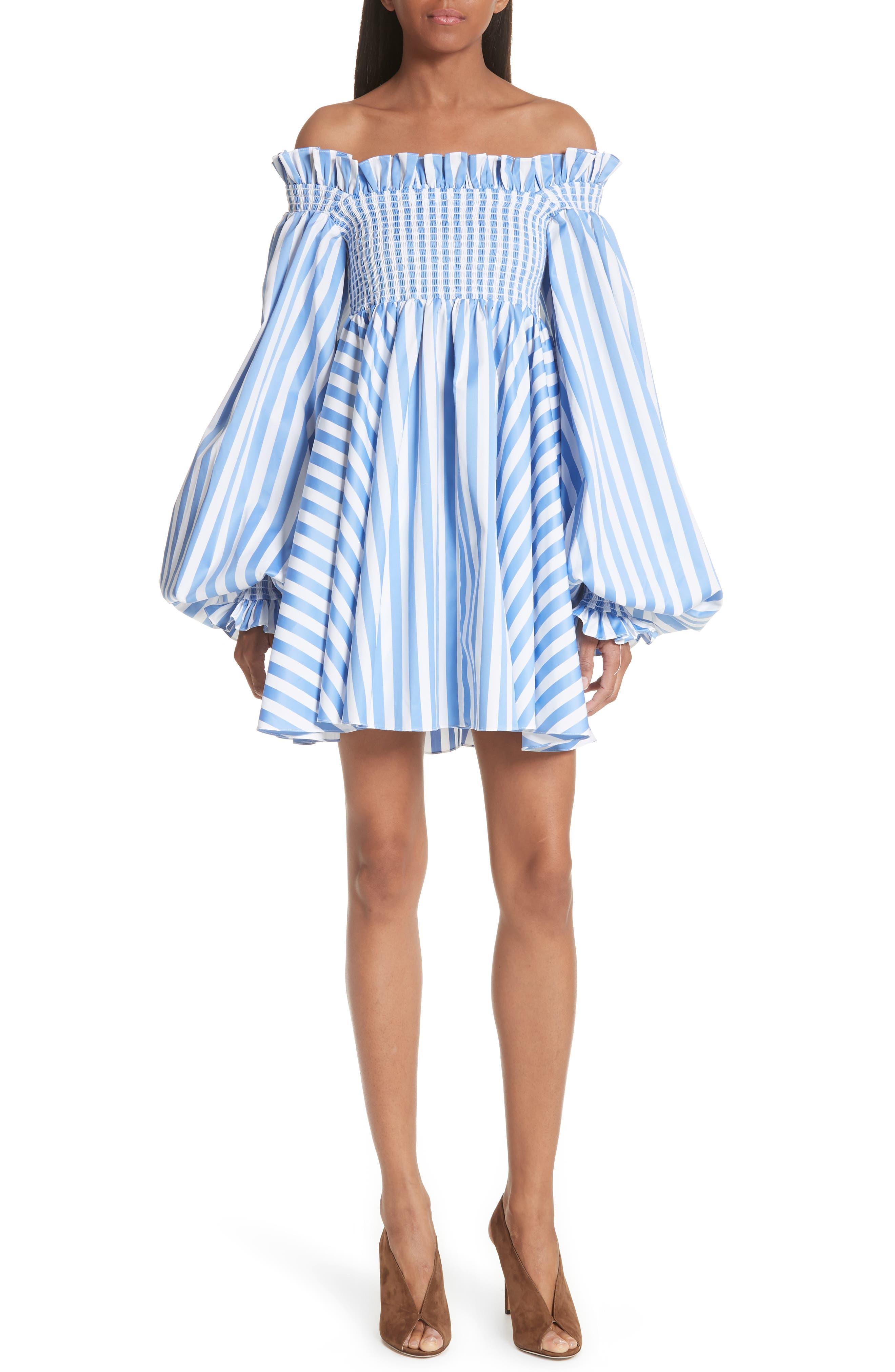 Kora Stripe Off the Shoulder Dress,                             Main thumbnail 1, color,                             Blue/ White