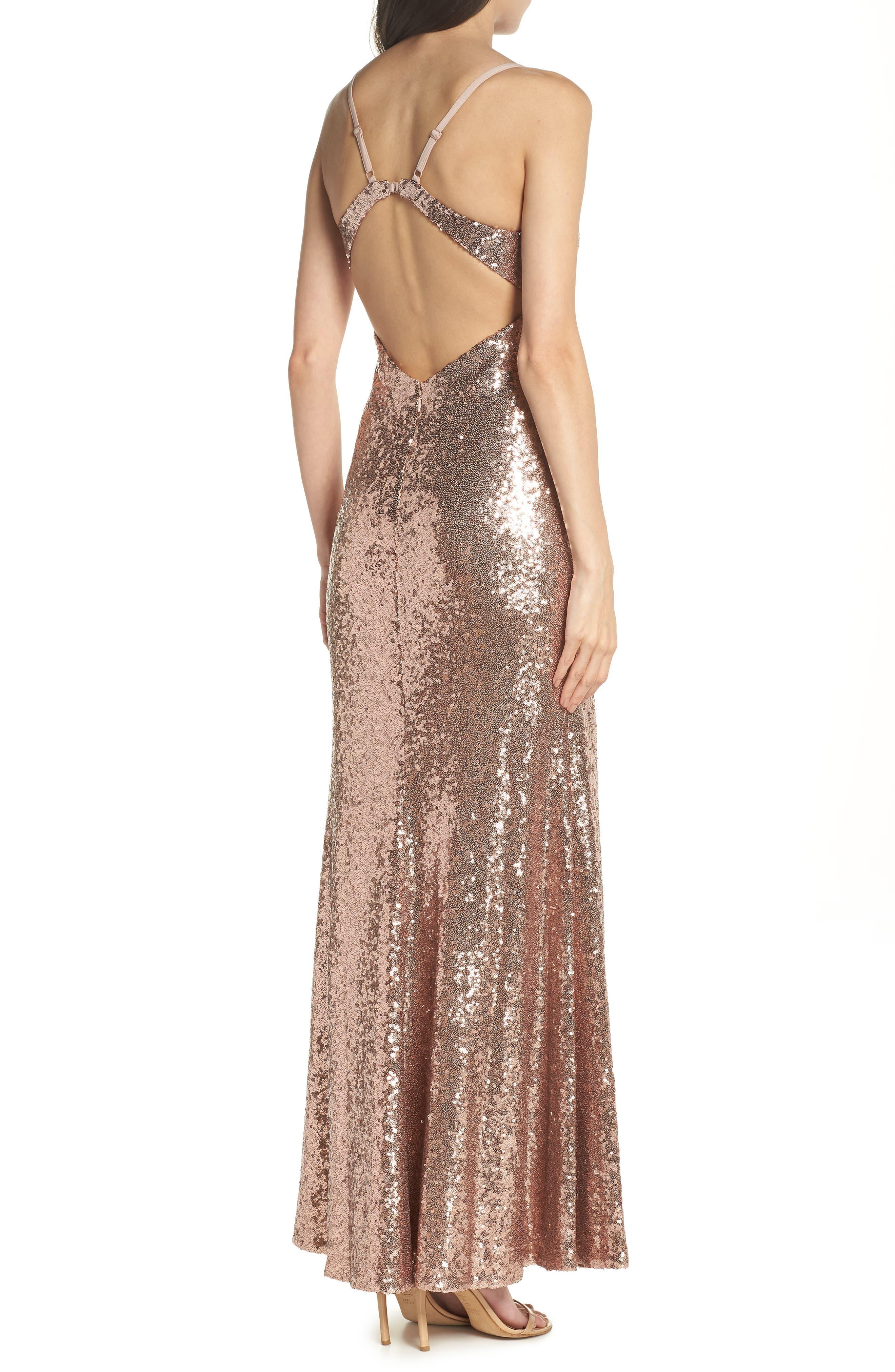 Keyhole Back Sequin Gown,                             Alternate thumbnail 2, color,                             Rose/ Gold
