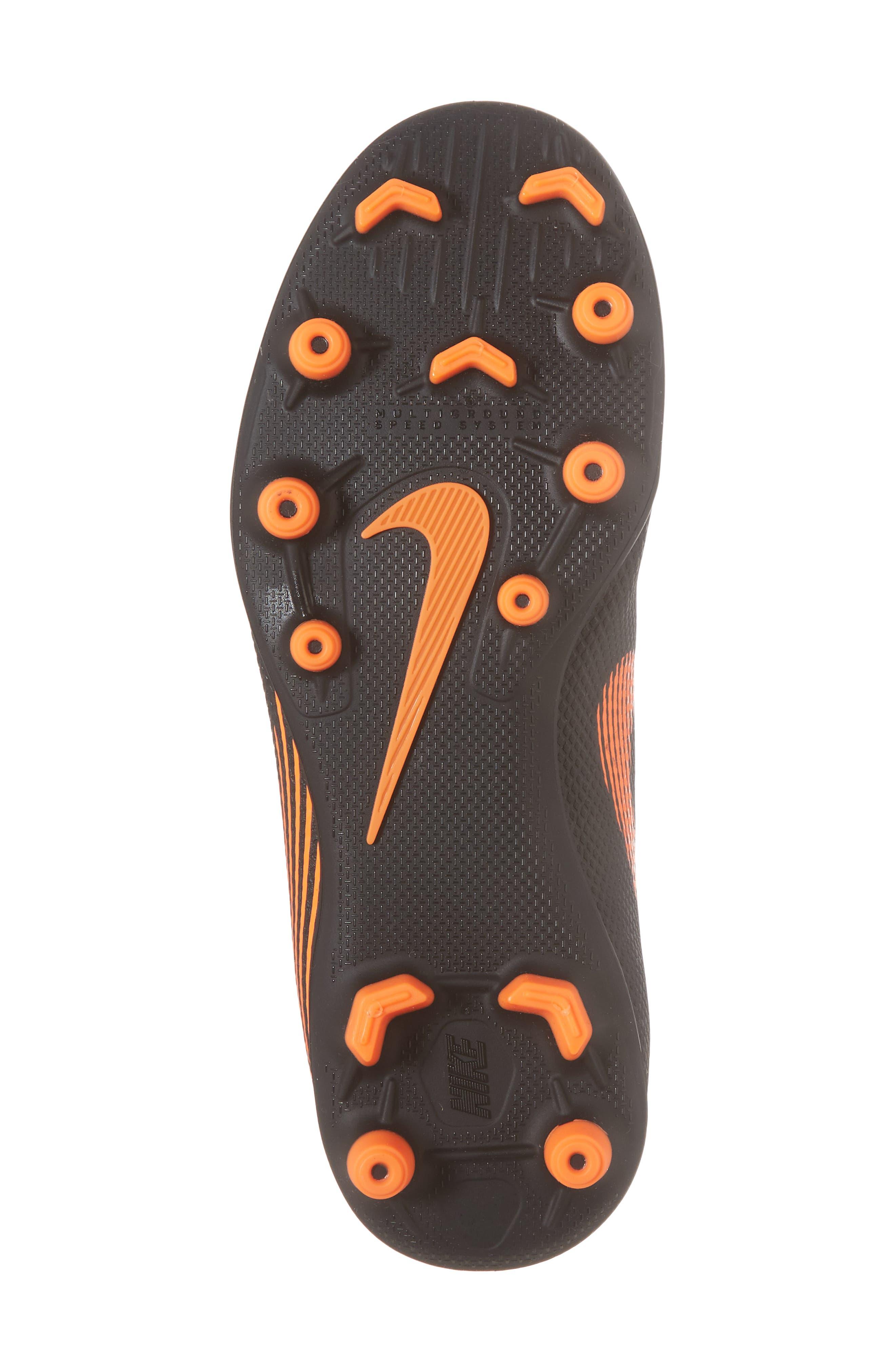 Vapor XII Club Multi Ground Soccer Shoe,                             Alternate thumbnail 6, color,                             Black/ Total Orange/ White