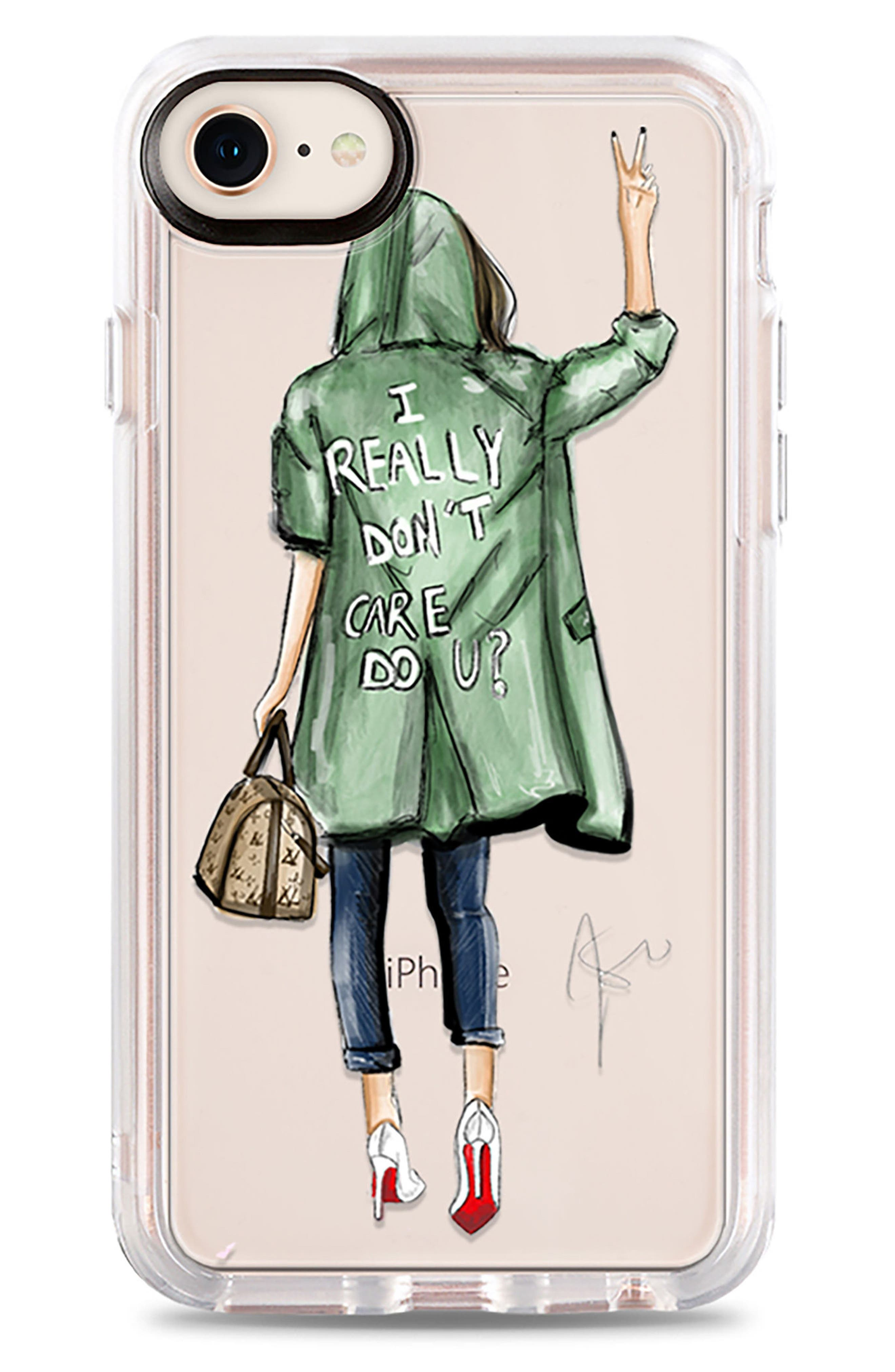 I Really Don't Care iPhone 7/8 & 7/8 Plus Case,                             Main thumbnail 1, color,                             Green