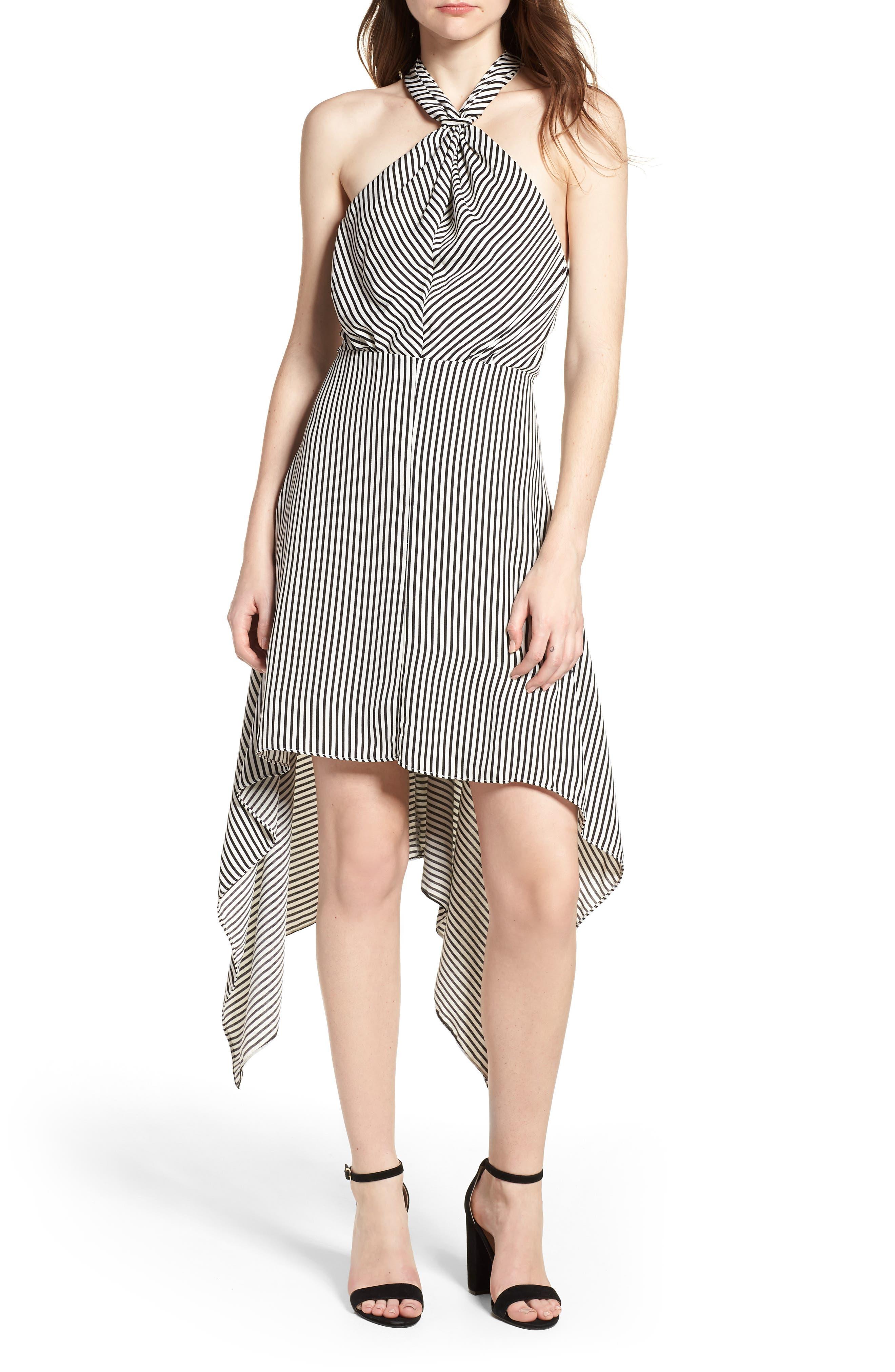 Bishop + Young Ana Stripe Shark Bite Hem Halter Dress,                         Main,                         color, Black Stripe