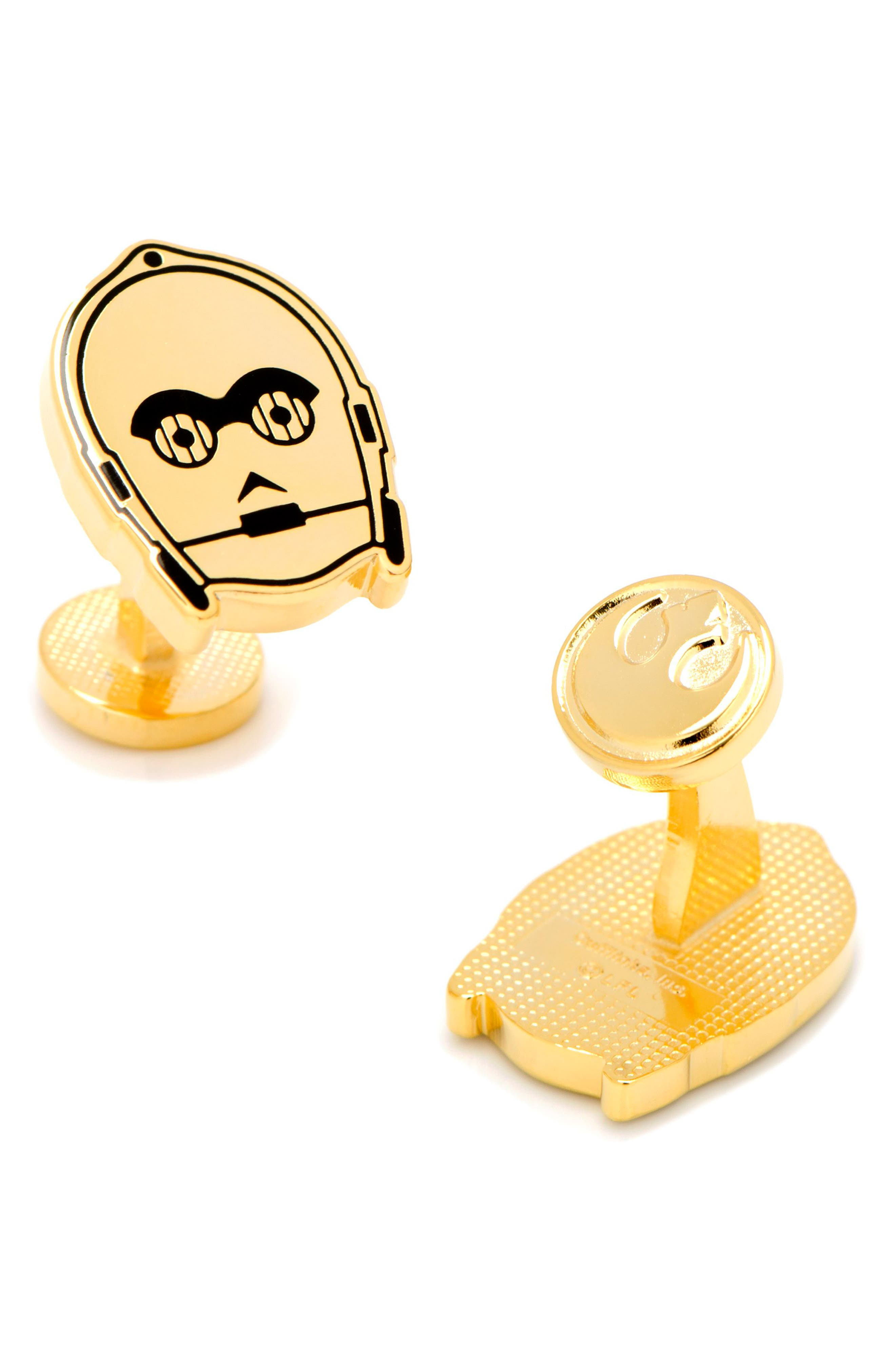 C-3PO Cuff Links,                             Alternate thumbnail 2, color,                             Gold