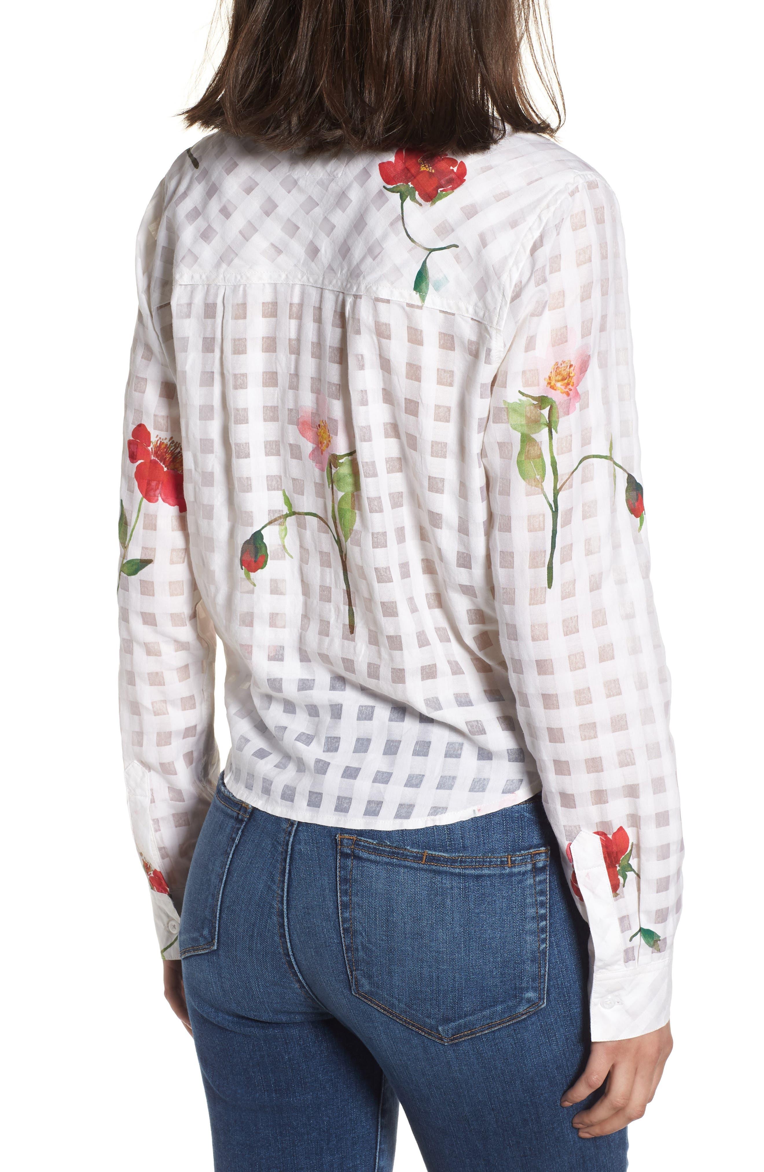 Kelsey Tie Front Shirt,                             Alternate thumbnail 2, color,                             Floral Powder Check