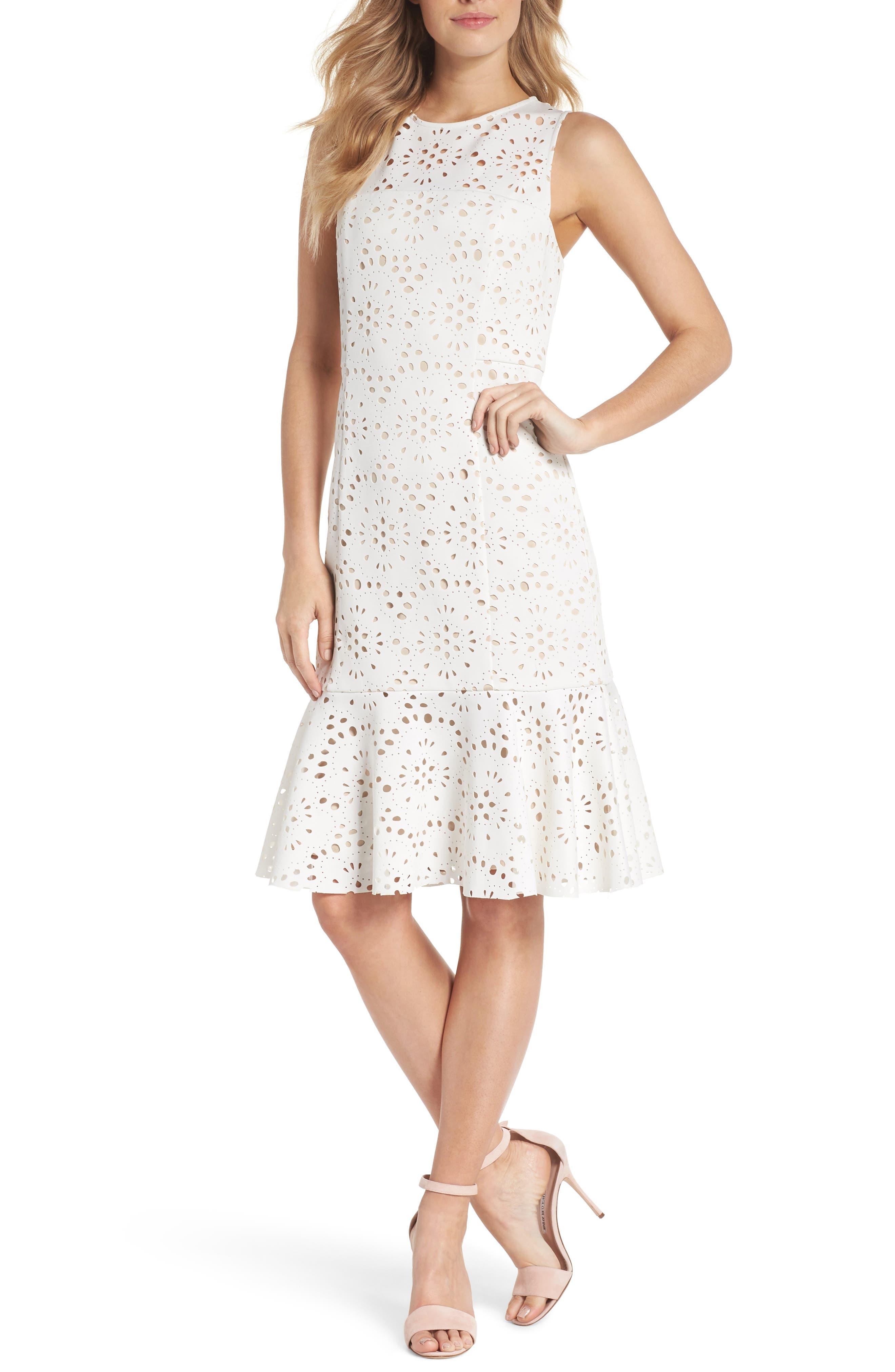 Flounce Laser Cut Scuba Dress,                             Main thumbnail 1, color,                             White