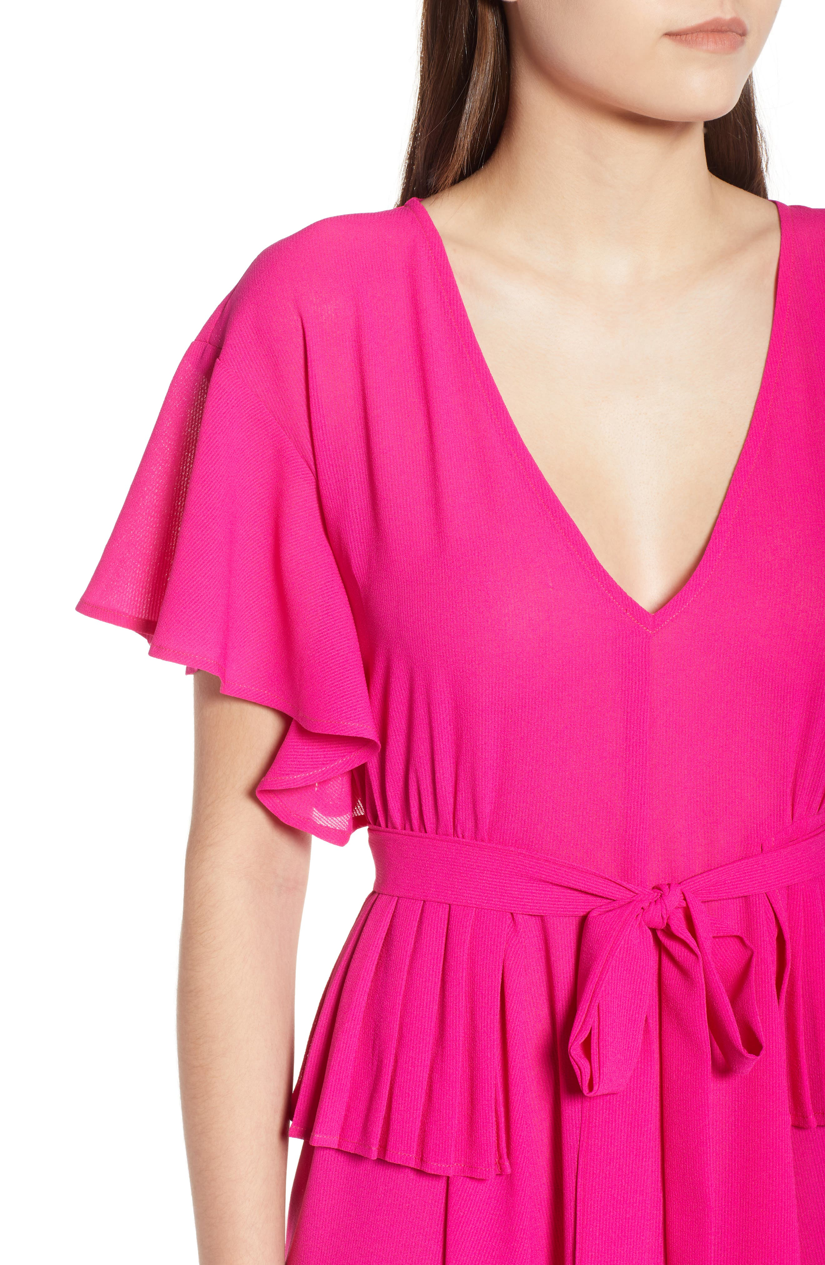 Chiffon Midi Dress,                             Alternate thumbnail 6, color,                             Fuchsia