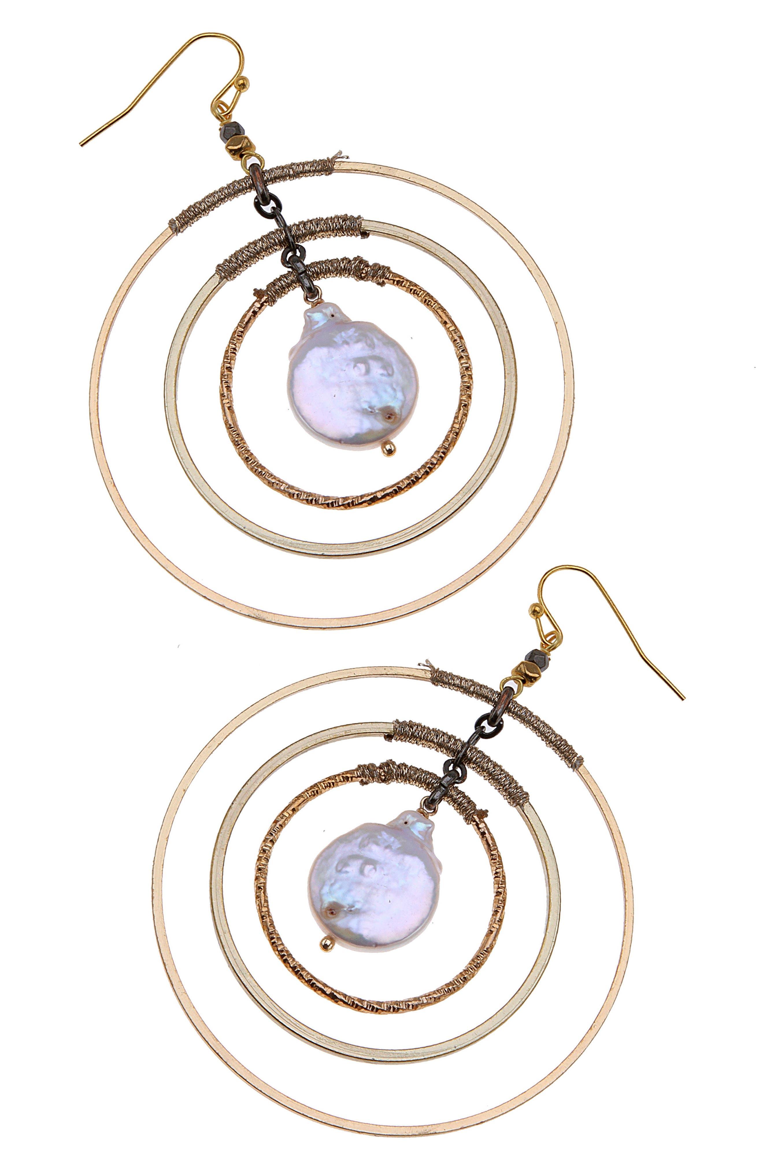 Multi Circle Freshwater Peal Earrings,                             Main thumbnail 1, color,                             Pearl
