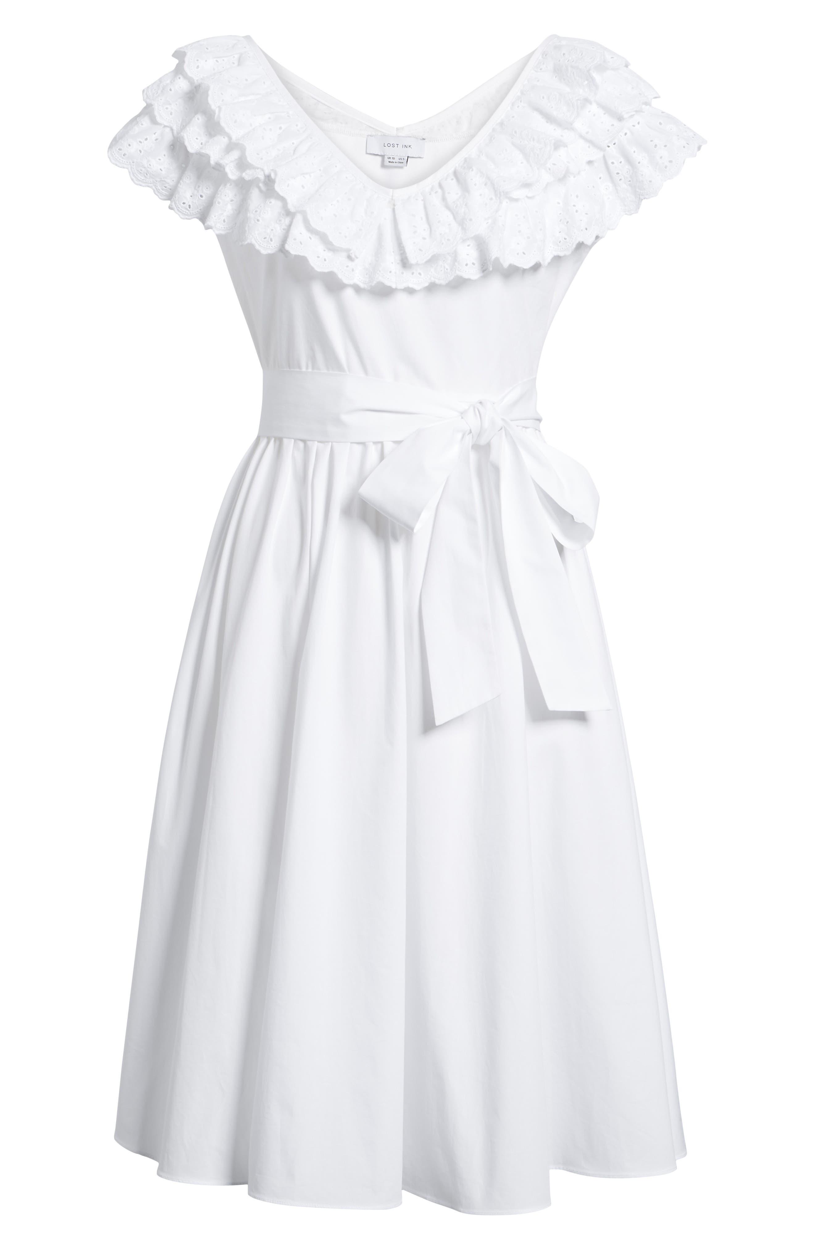 Ruffle Eyelet Dress,                             Alternate thumbnail 7, color,                             White