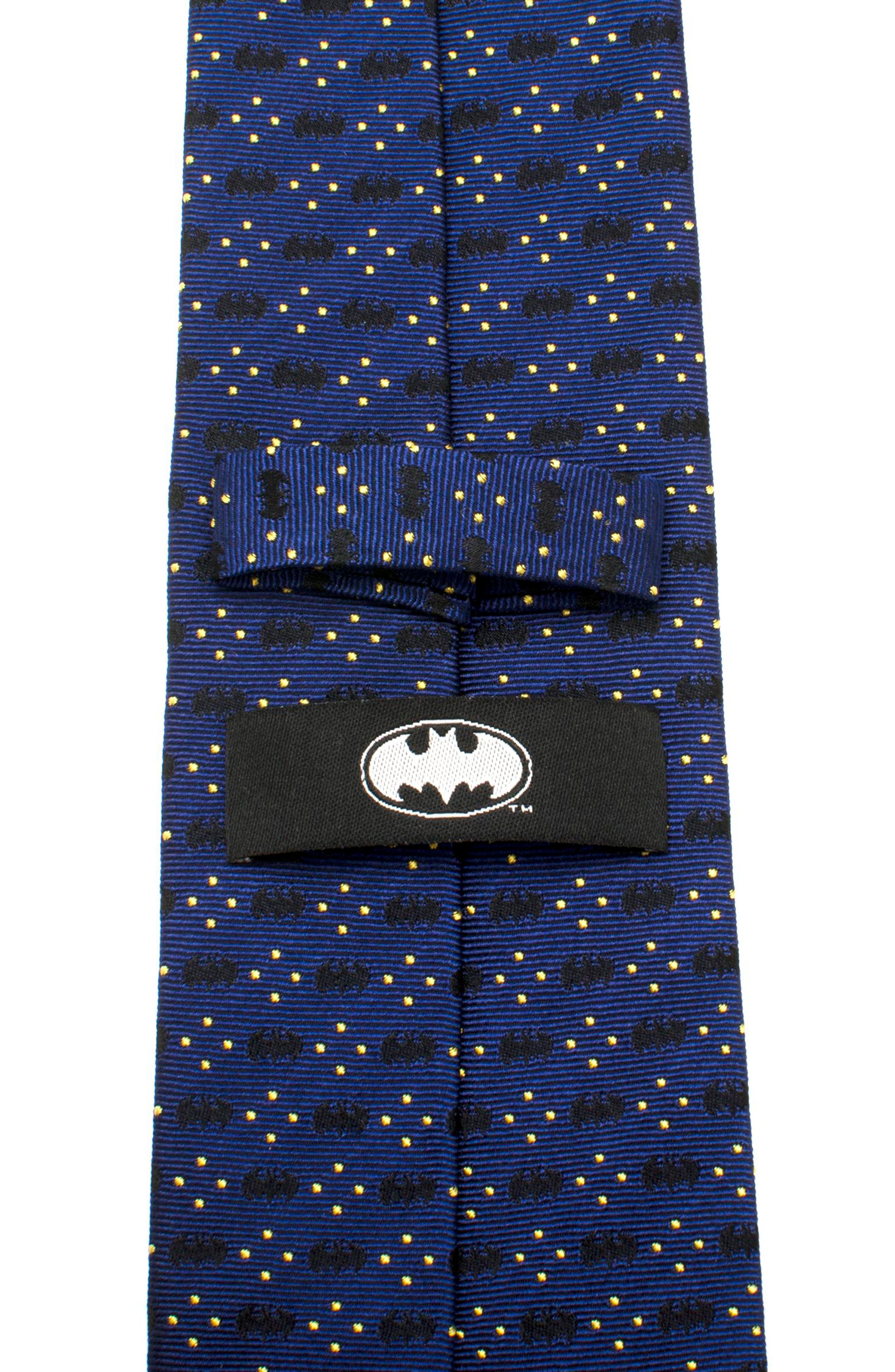 Batman Diamond Dot Silk Tie,                             Alternate thumbnail 3, color,                             Navy
