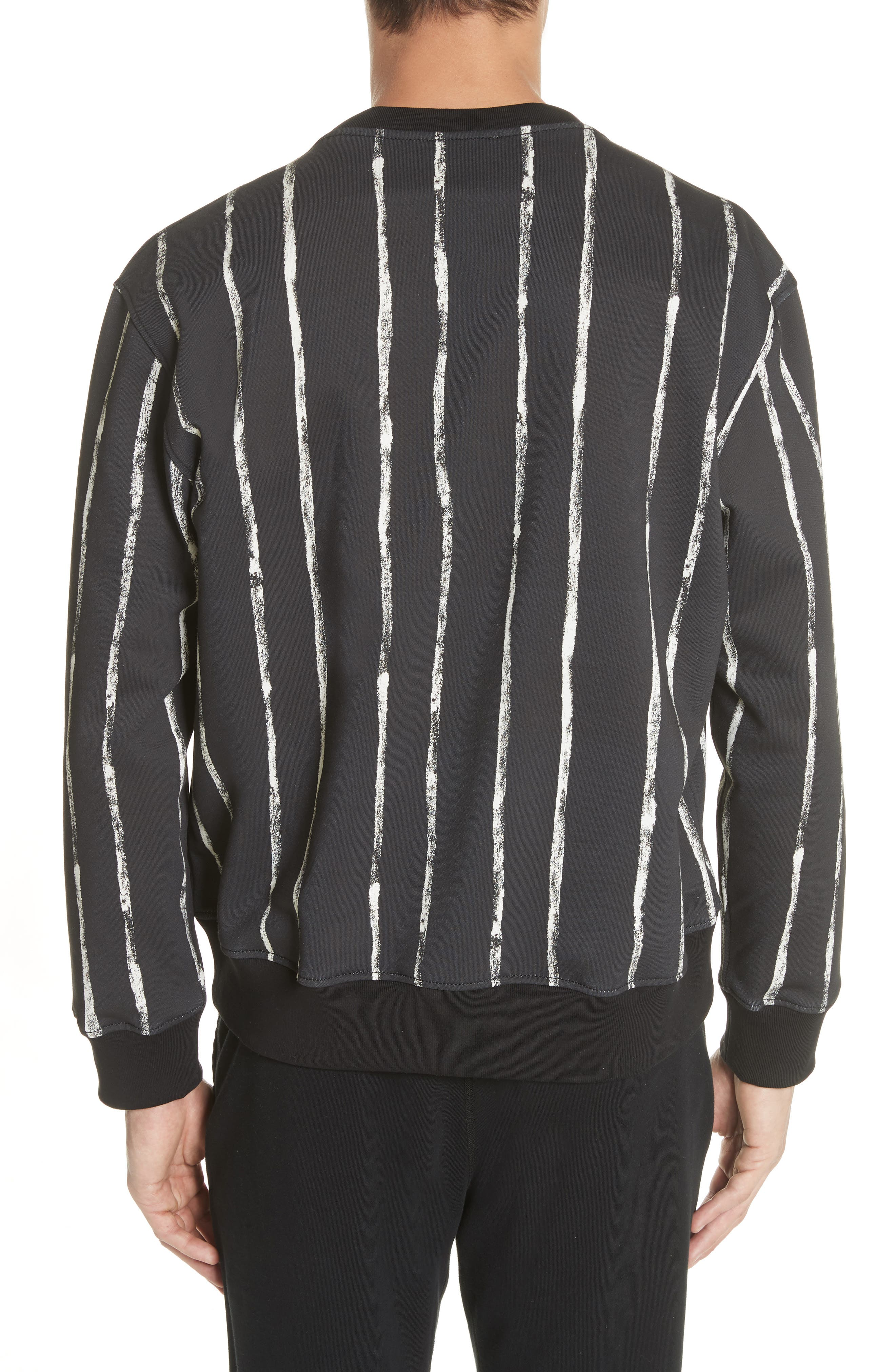 Paint Stripe Crewneck Sweatshirt,                             Alternate thumbnail 2, color,                             Black/ White