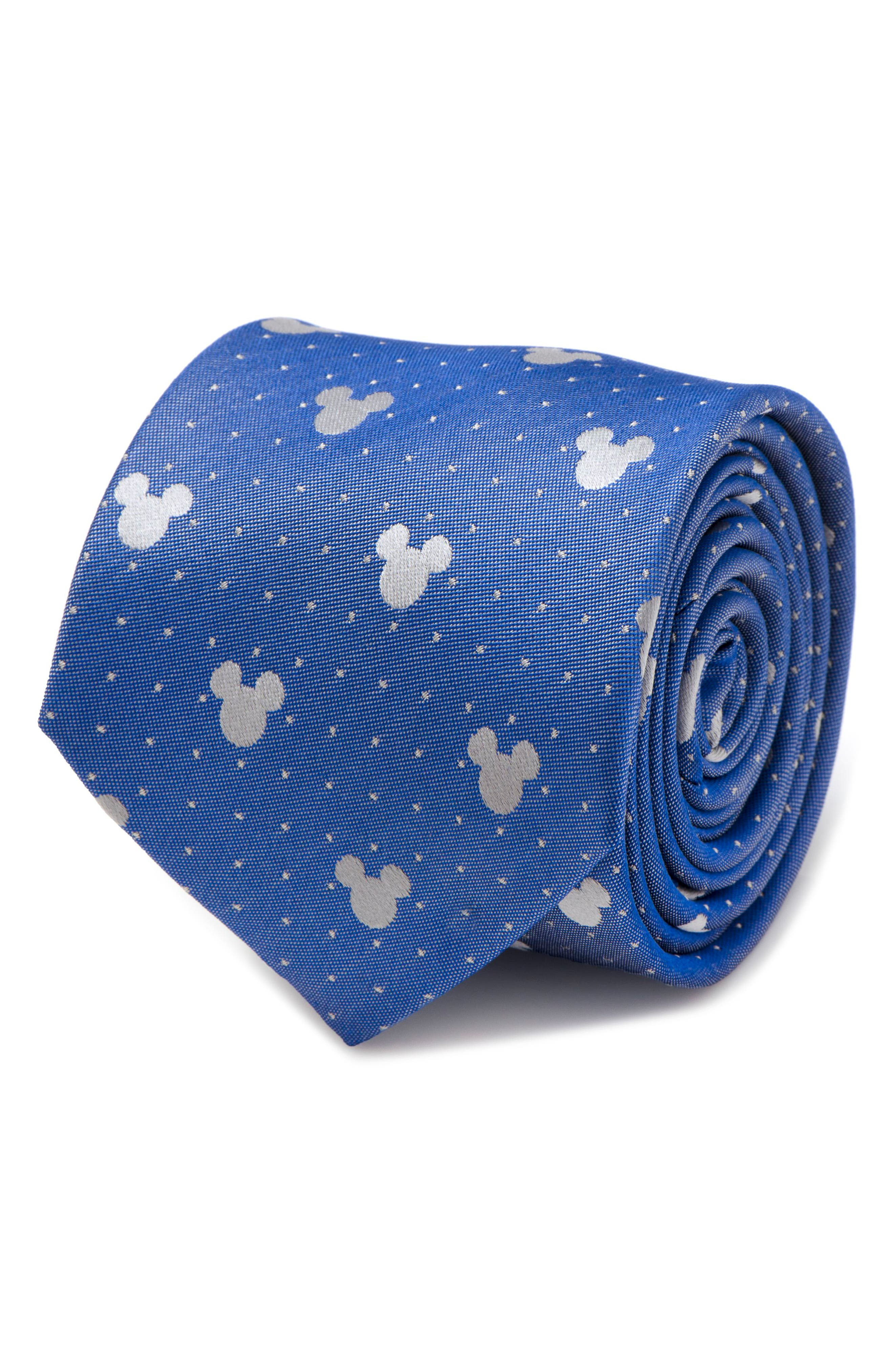 Mickey Mouse Pin Dot Silk Tie,                             Alternate thumbnail 5, color,                             Blue/ Grey