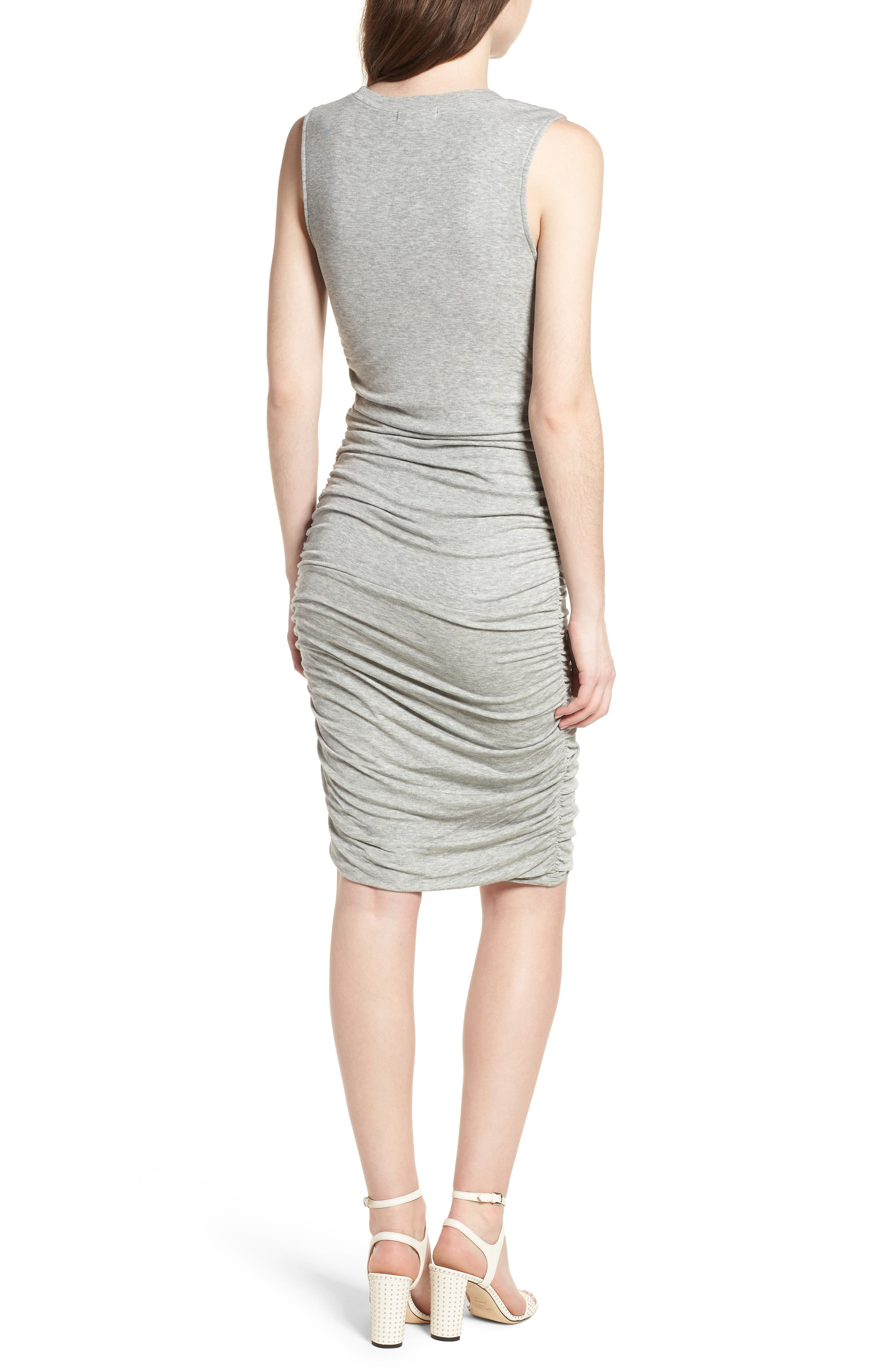 Shirred Dress,                             Alternate thumbnail 2, color,                             Grey Heather