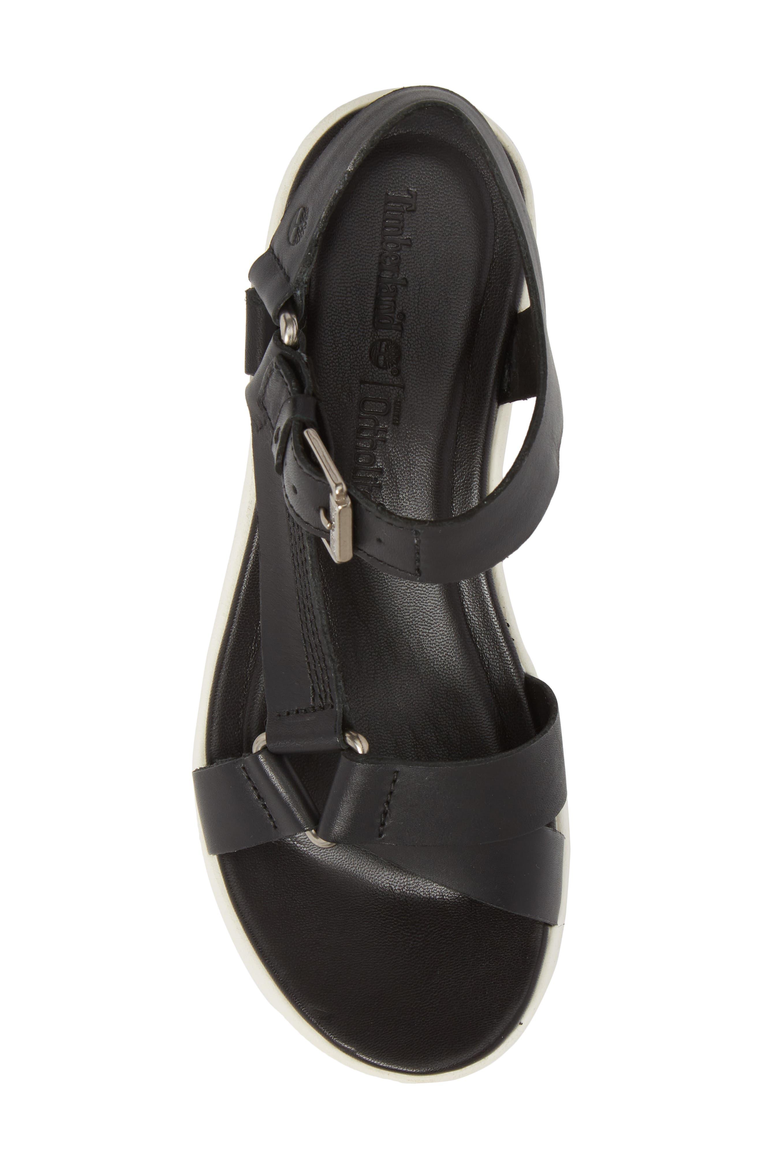 Los Angeles Wind Sport Sandal,                             Alternate thumbnail 5, color,                             Black Leather
