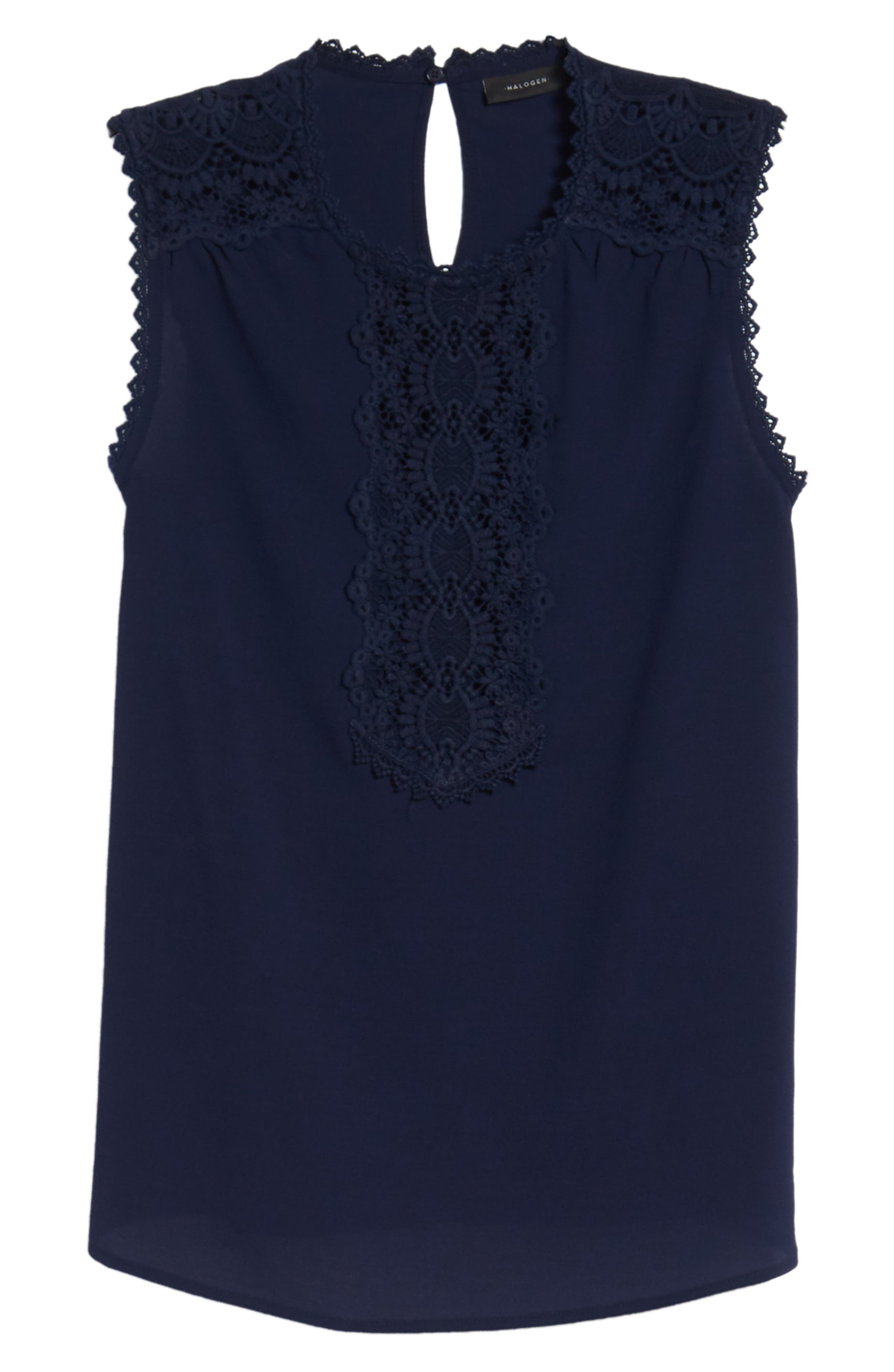 Lace Detail Stretch Crepe Tank Top,                             Alternate thumbnail 7, color,                             Navy Peacoat